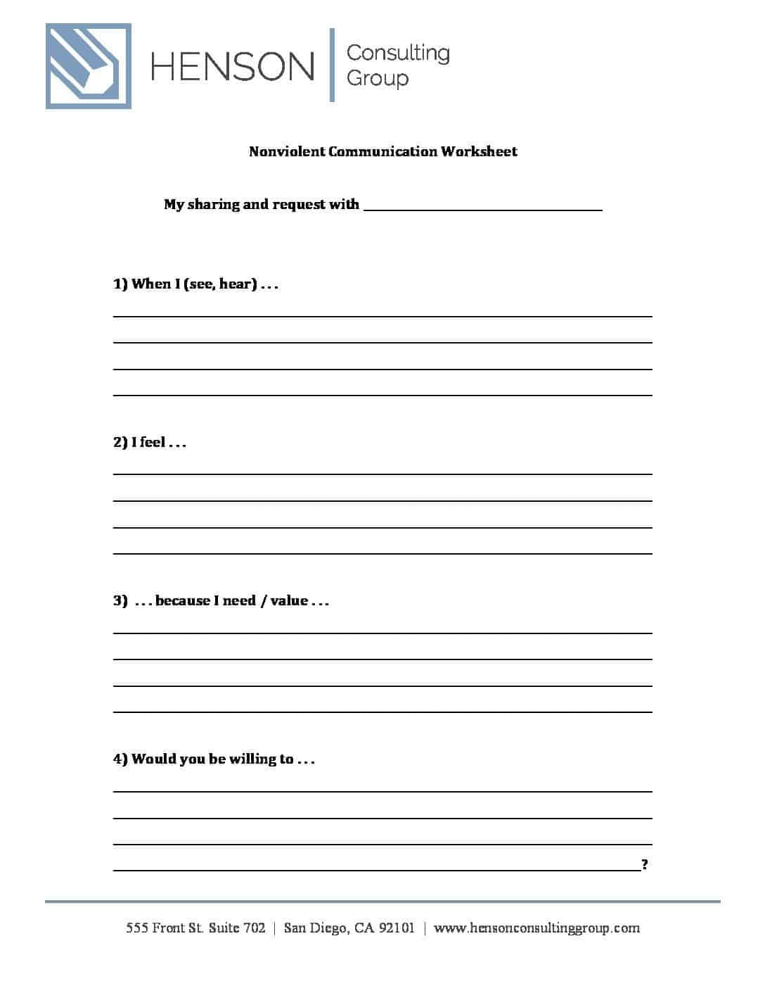Communication Worksheets For Adults Db Excel