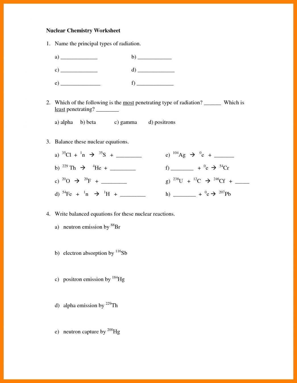 Radioactive Decay Webquest Worksheet Answers