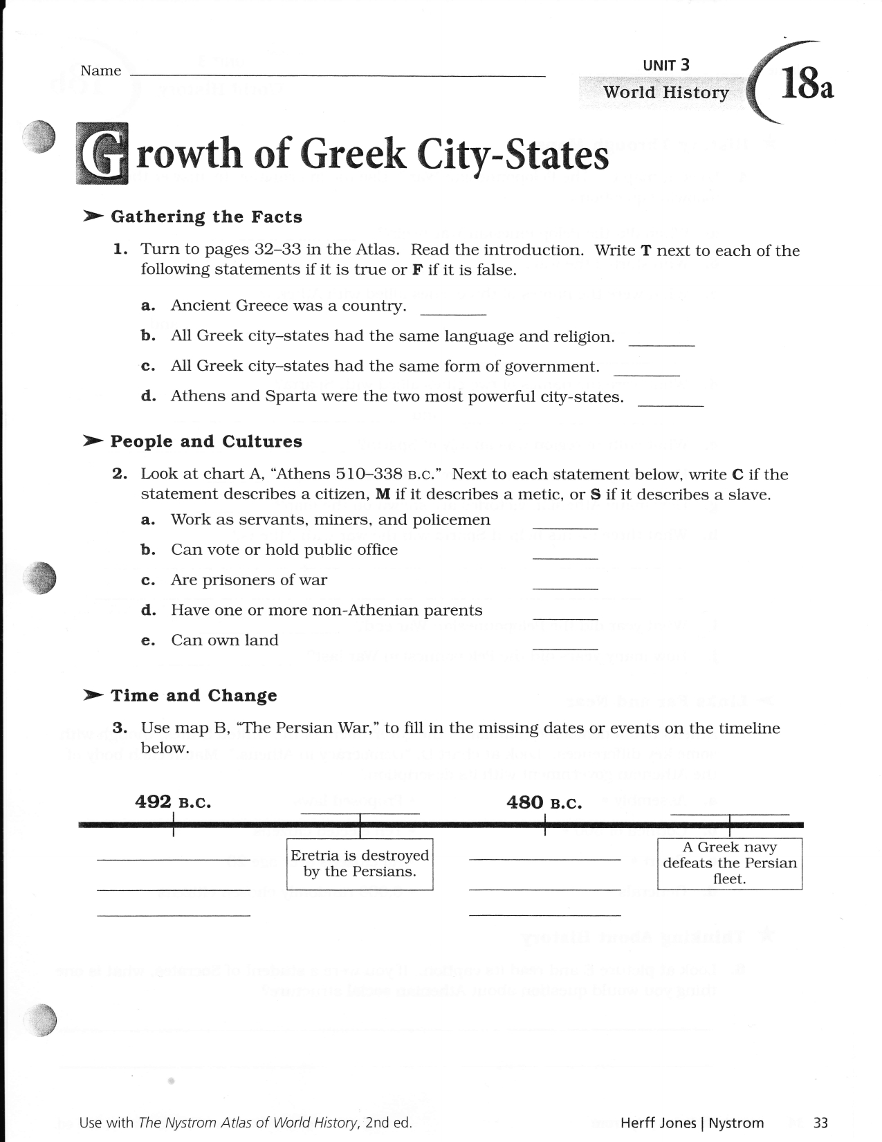 Nystrom World Atlas Worksheets Answers