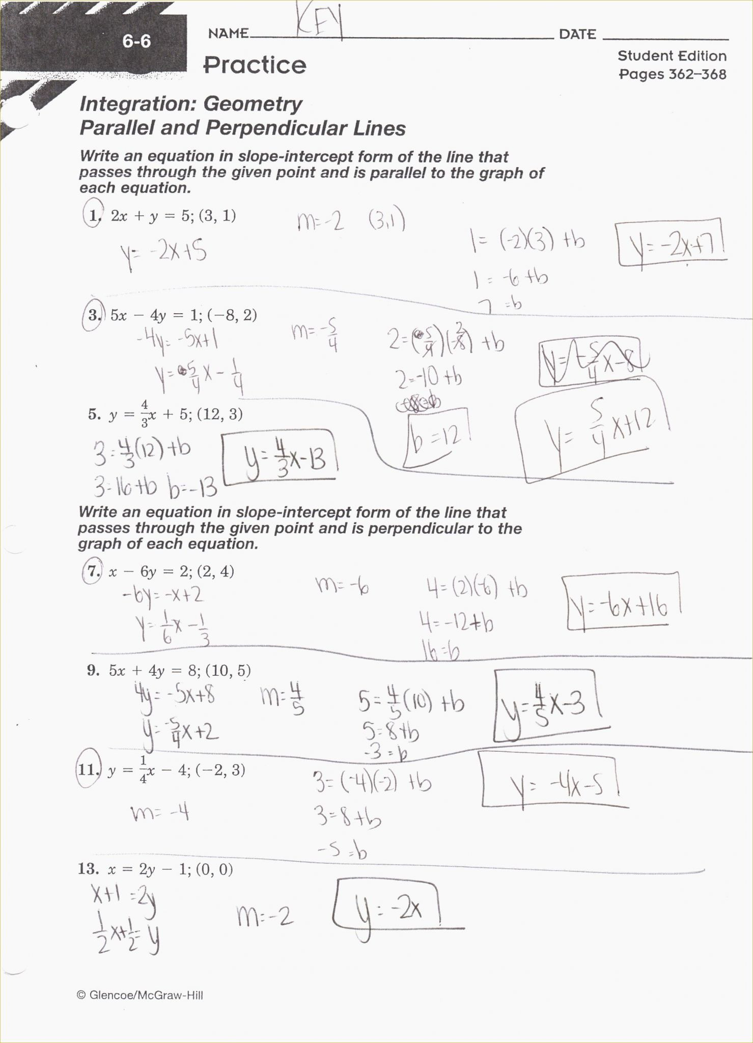 Geometry Parallel And Perpendicular Lines Worksheet