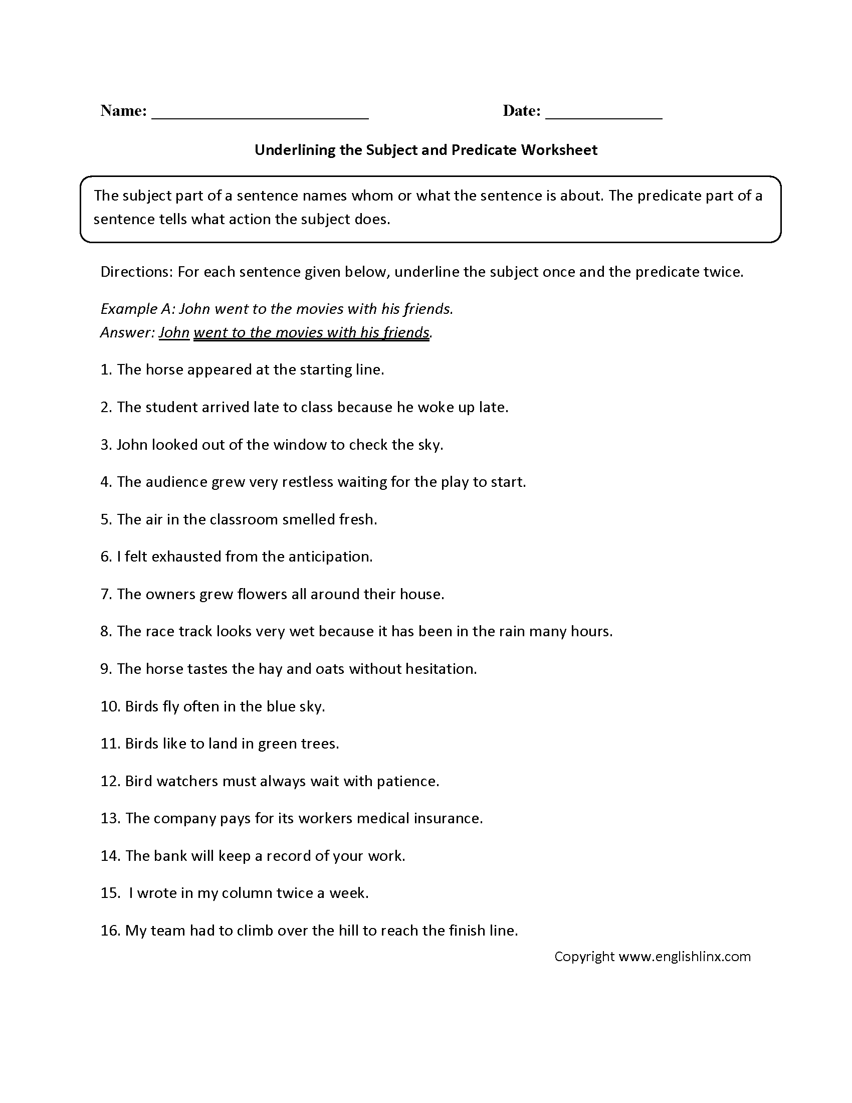 Parts Of A Sentence Worksheets Subject And Predicate