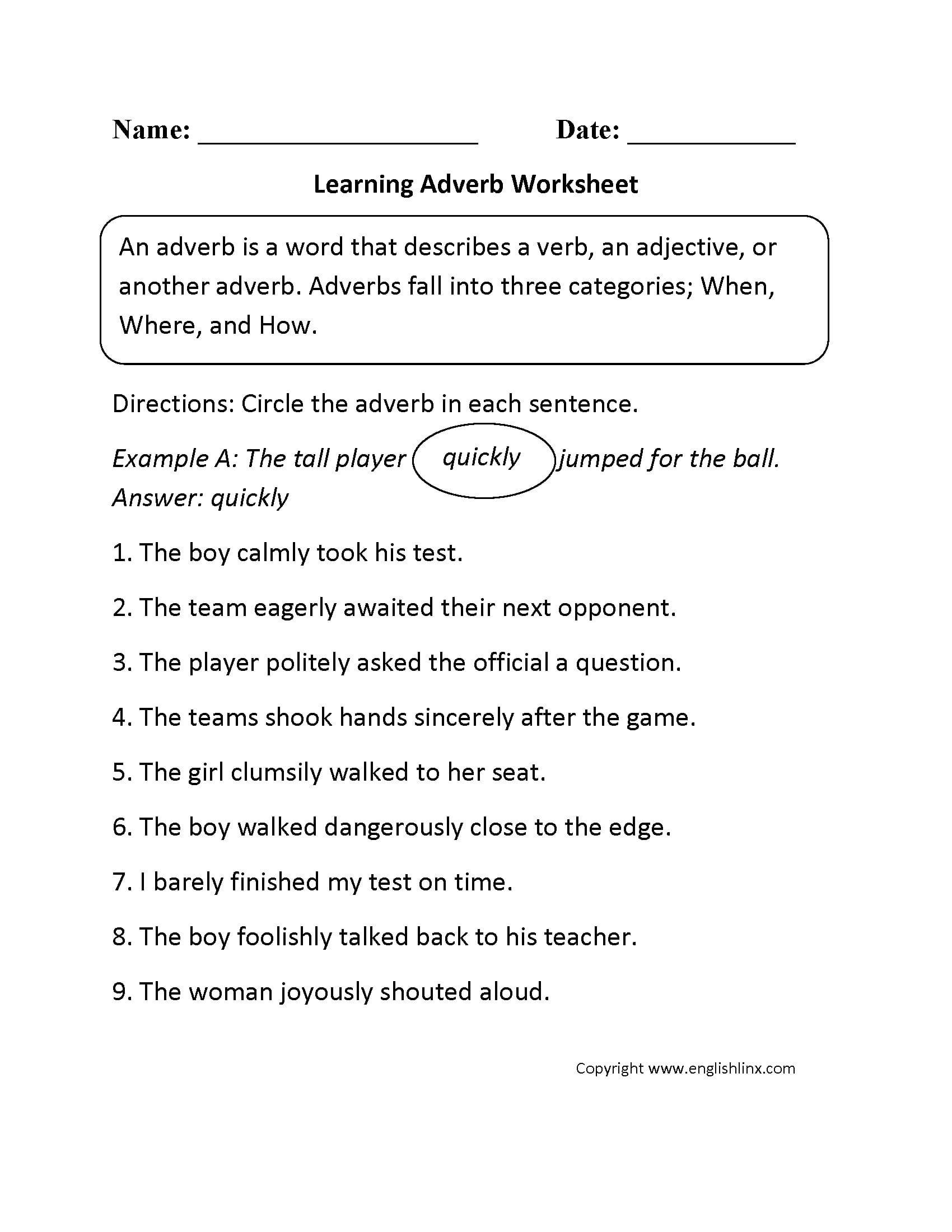 Adverb Worksheets 3rd Grade