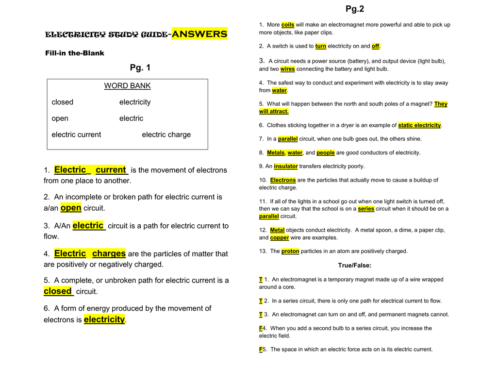 Electricity Study Guideanswer Key