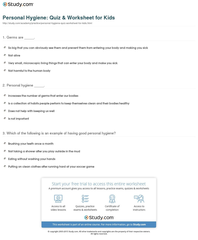 Teaching Personal Hygiene Worksheets
