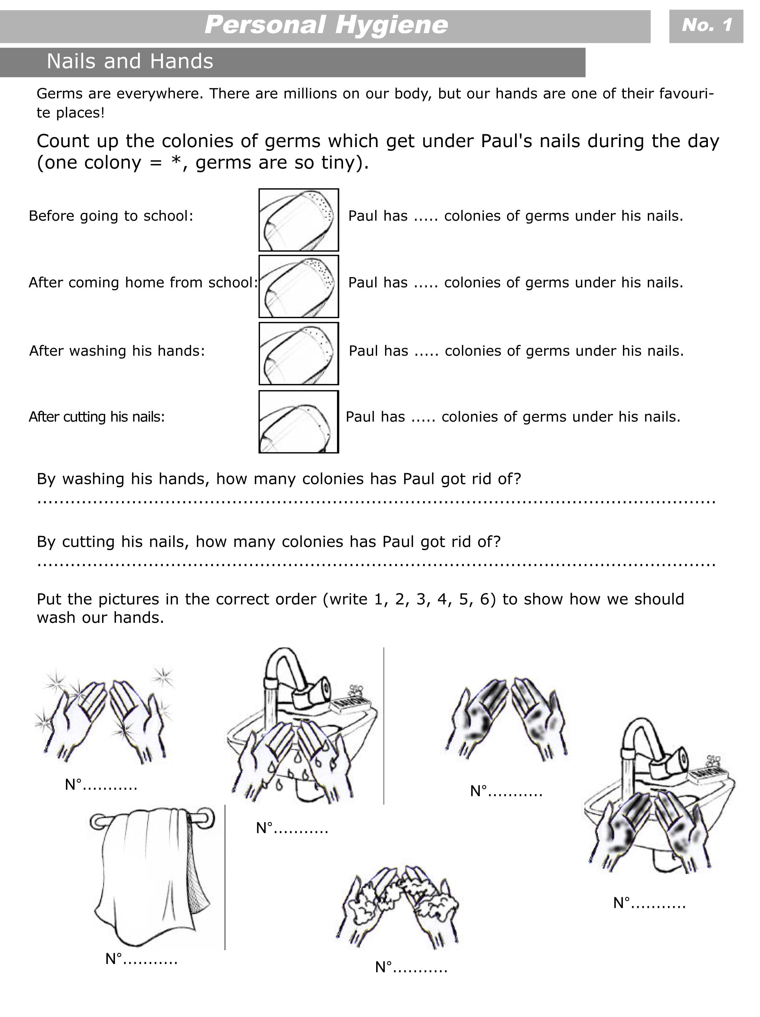 Personal Hygiene Worksheets For Kids Level 2 Personal