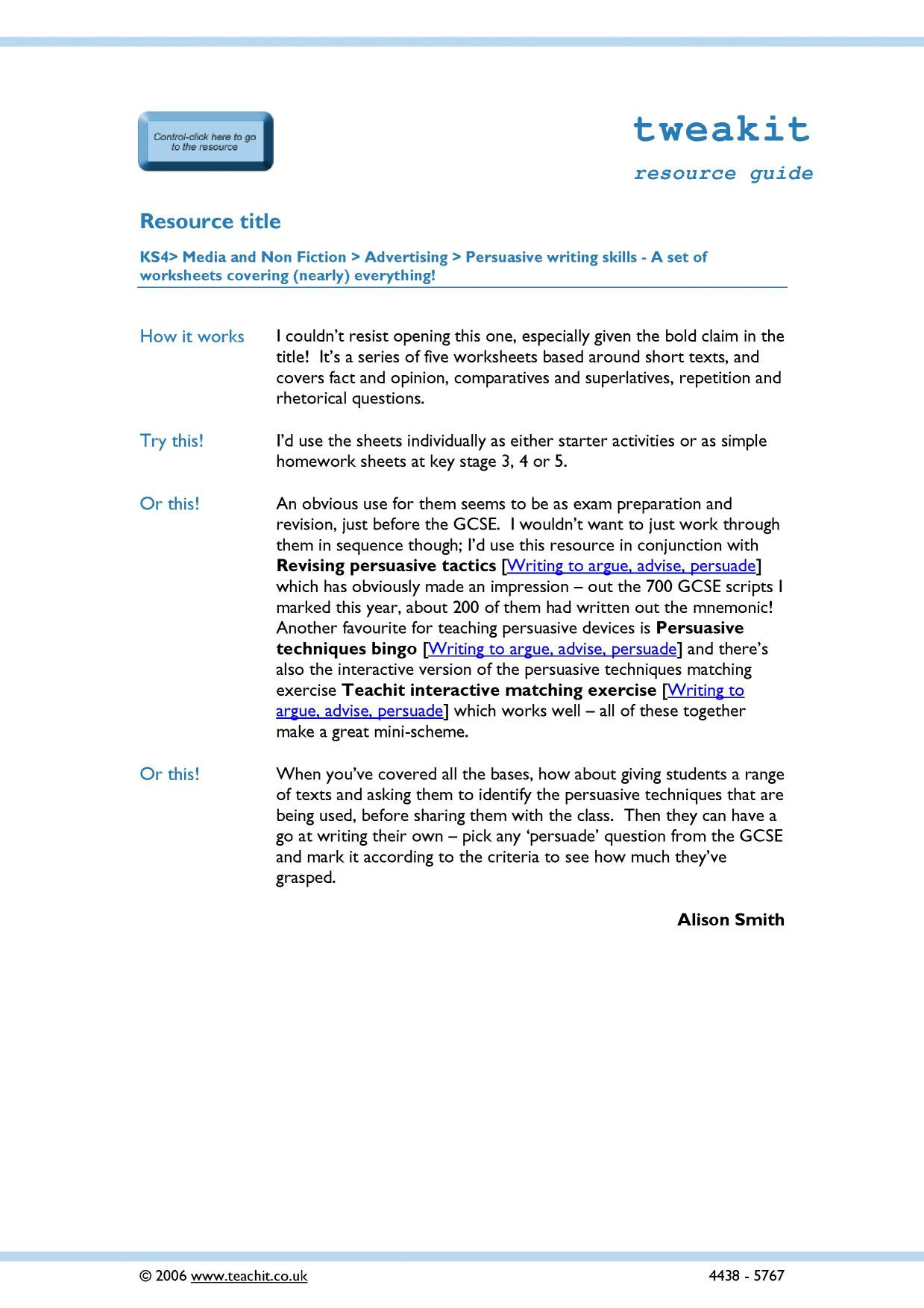 Persuasive Writing Skills A Set Of Worksheets Covering