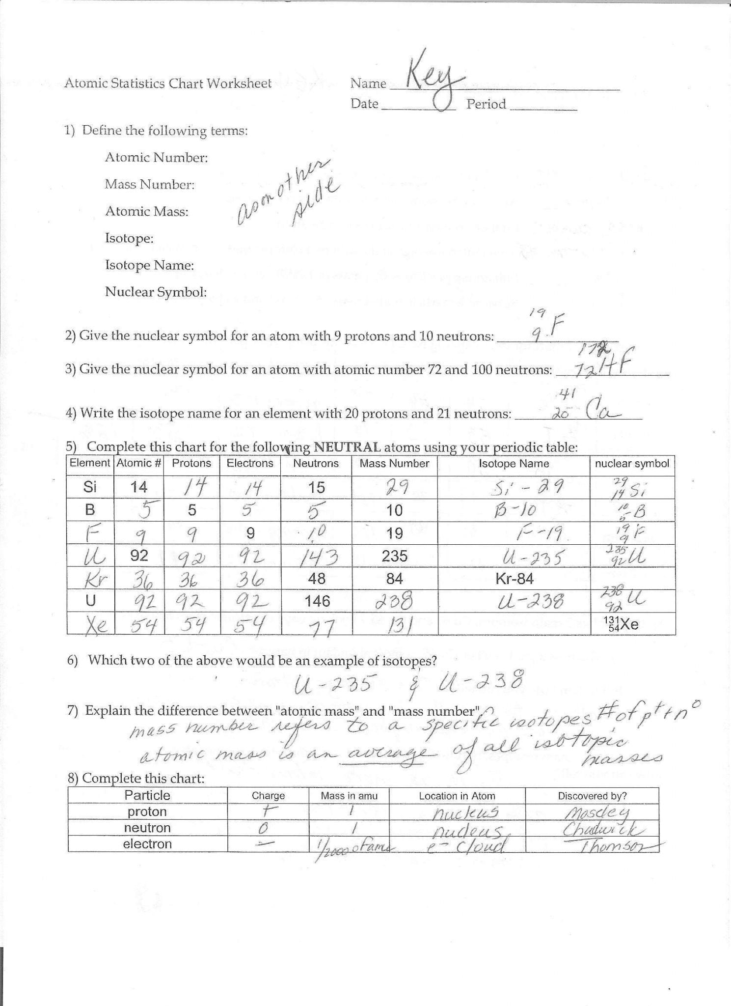 Isotopes And Atomic Mass Worksheet Answers Db Excel