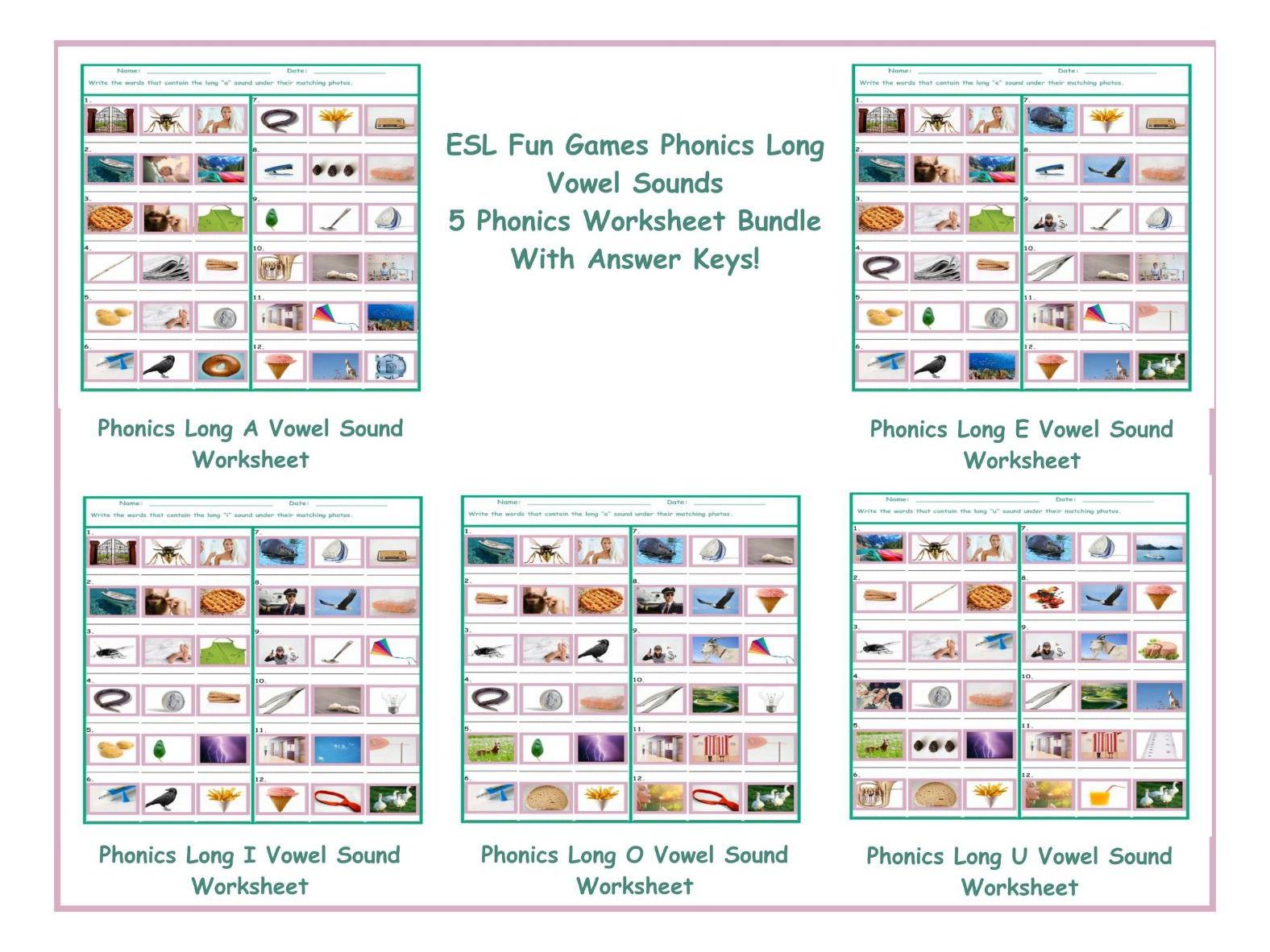 Phonics Long Vowel Sounds 5 Worksheet Bundle