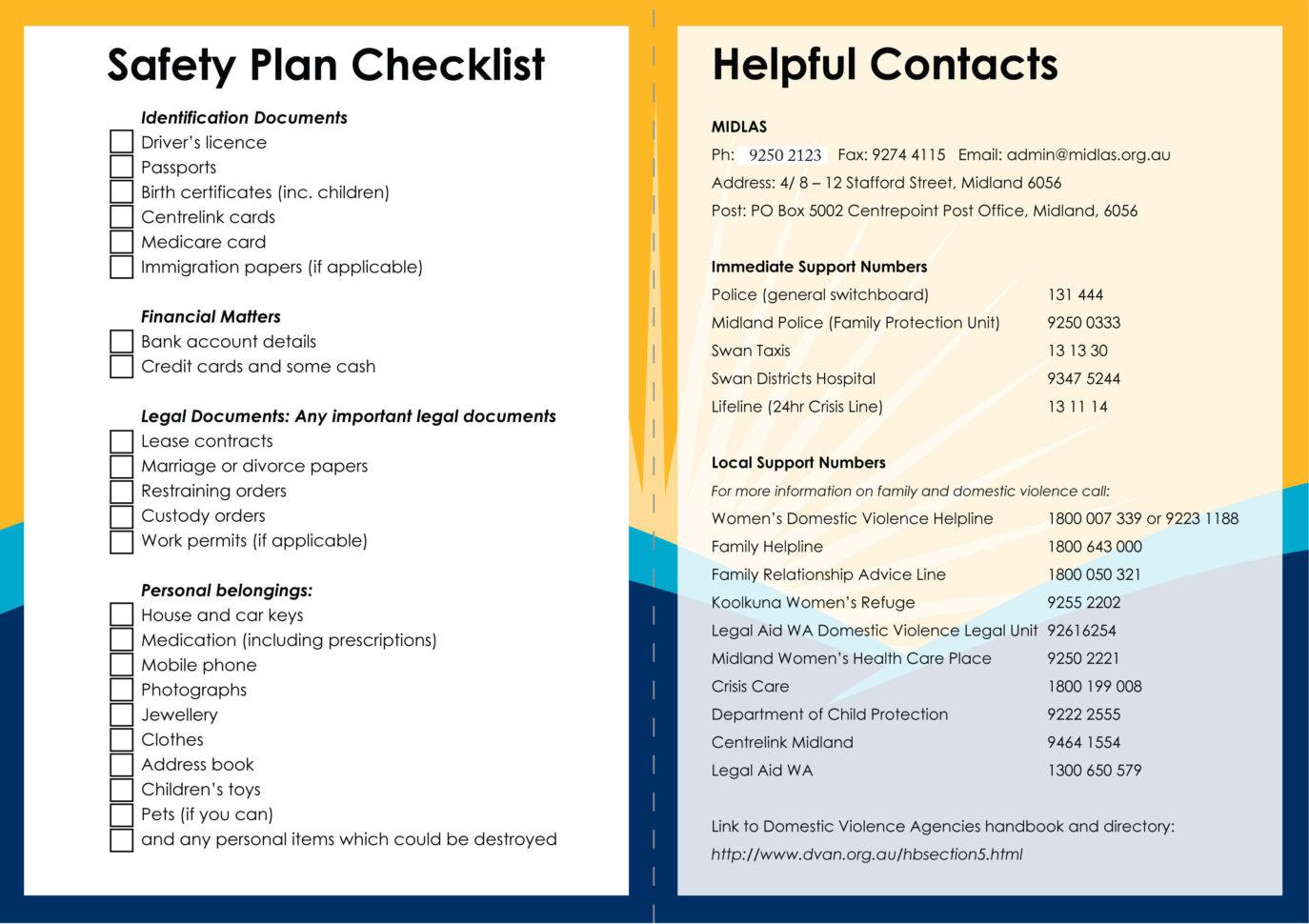 Plan Safety Business Leaving Domestic Violence Worksheet
