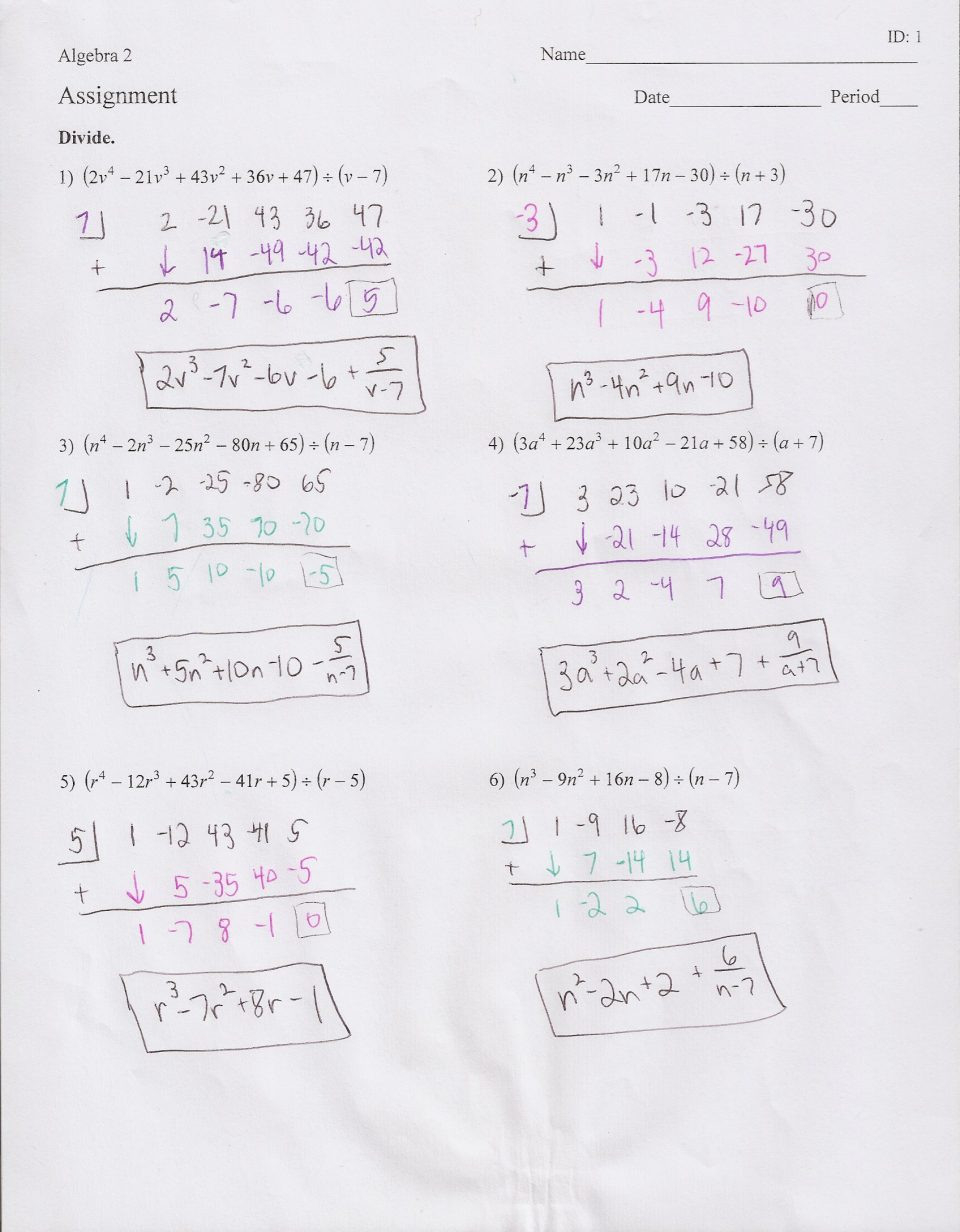 Polynomials Worksheet With Answers 2Nd Grade Math