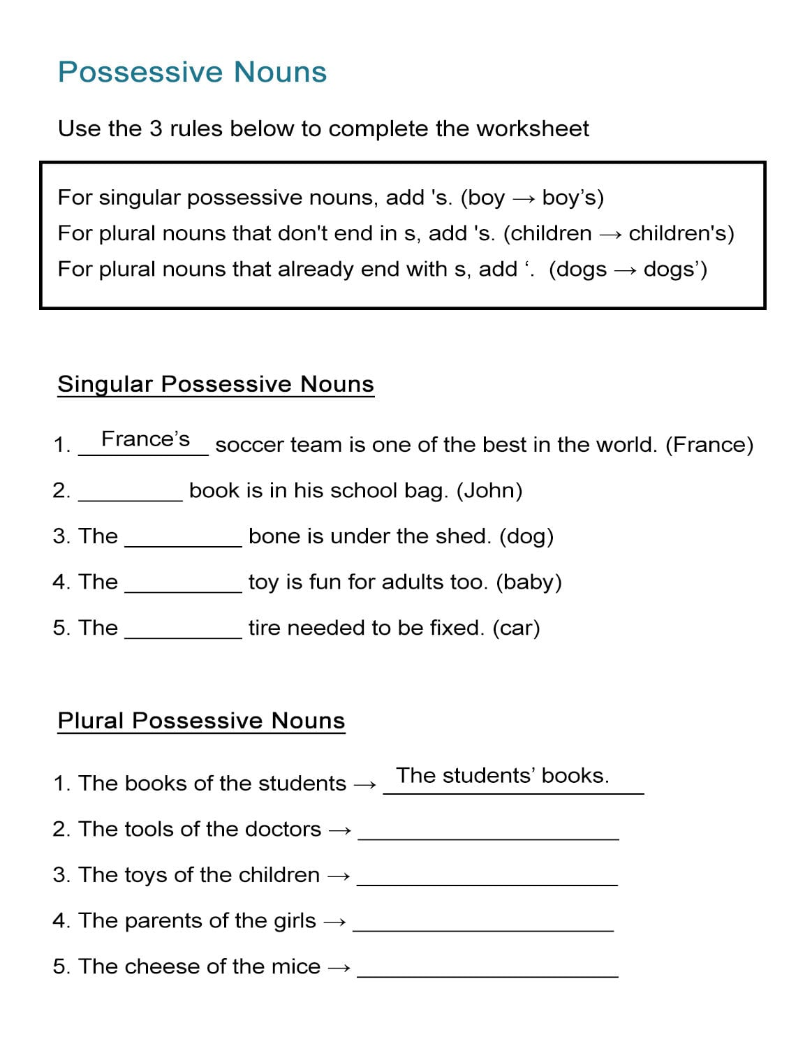 Free Noun Worksheets