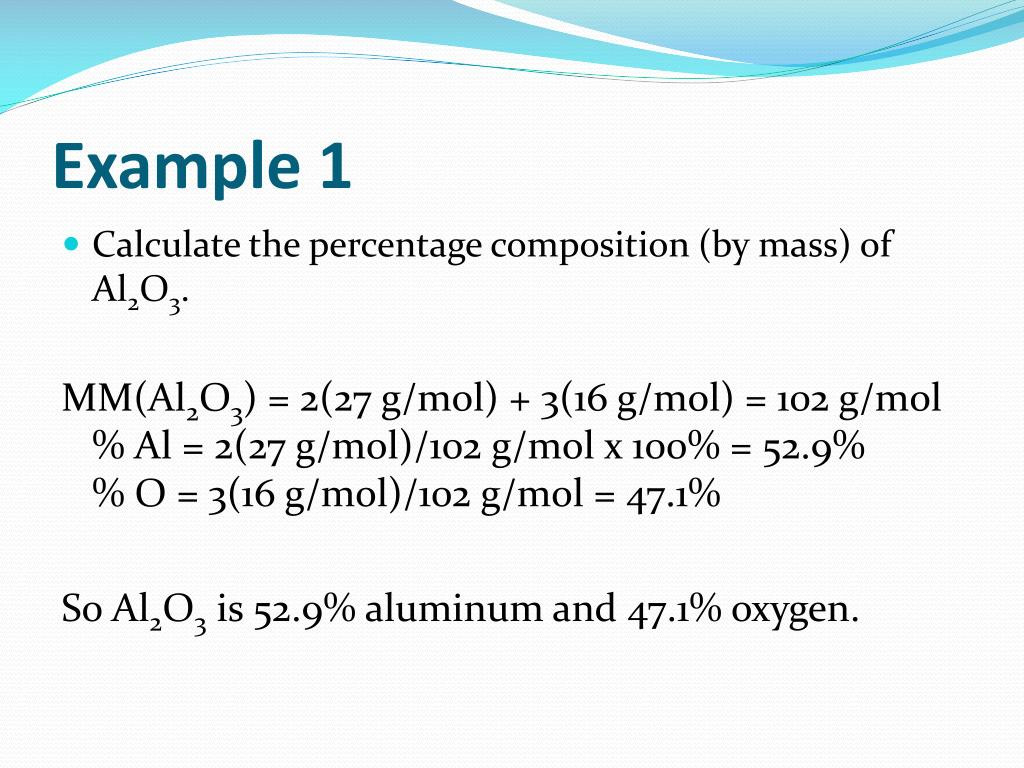 Percent Composition Chemistry Worksheet