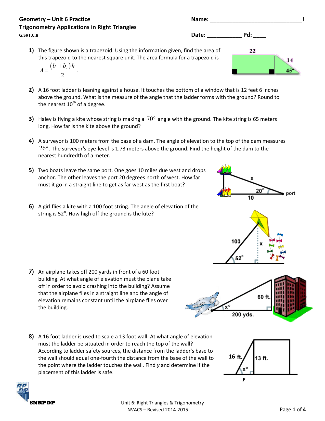 Practice Worksheet Right Triangle Trigonometry Answers
