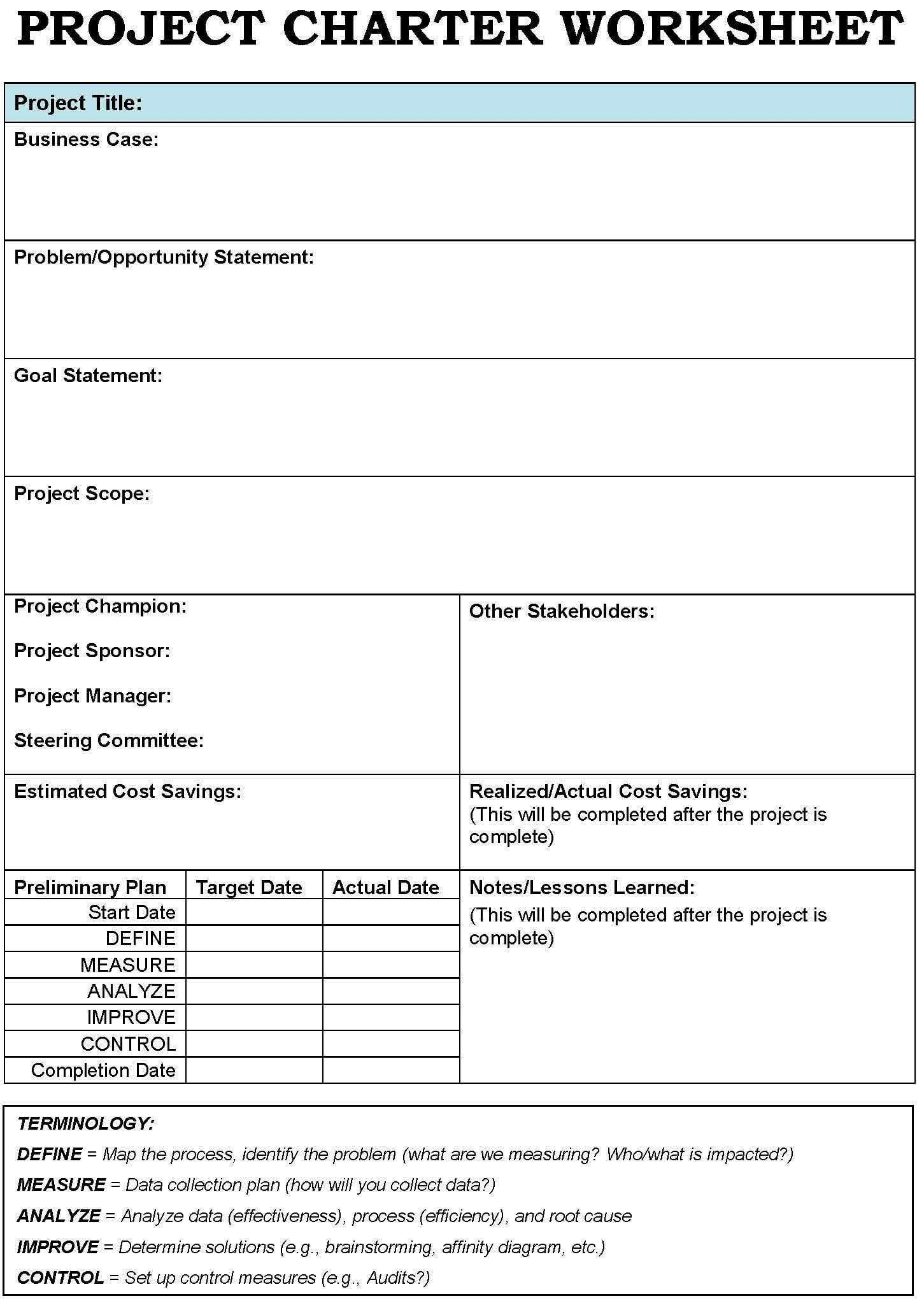 Project Planning Worksheet Management Free Charter