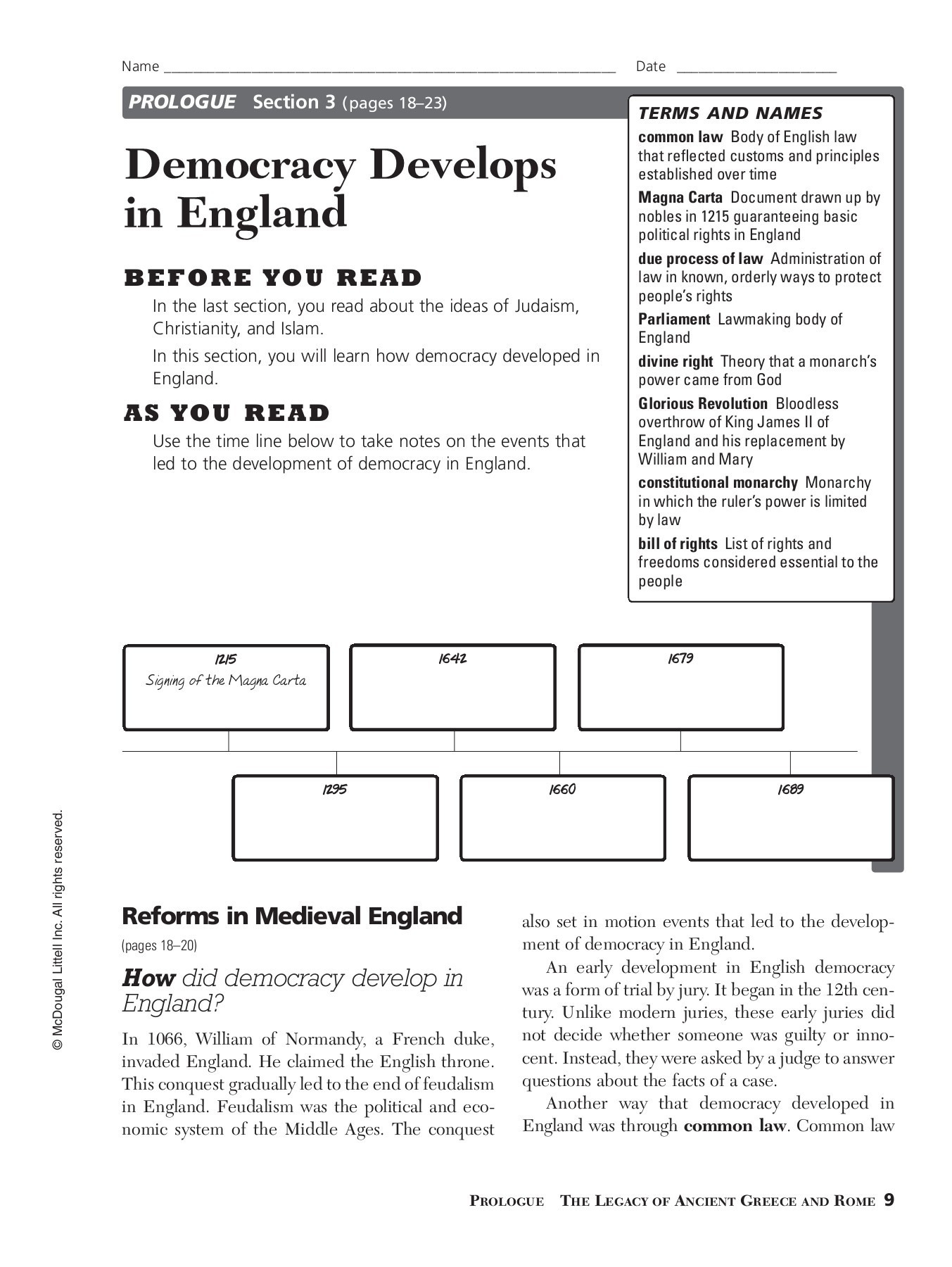 Democratic Developments In England Worksheet Answers