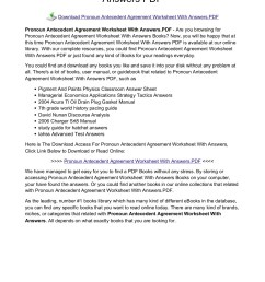 Pronoun Antecedent Agreement Worksheet   Printable Worksheets and  Activities for Teachers [ 1800 x 1273 Pixel ]