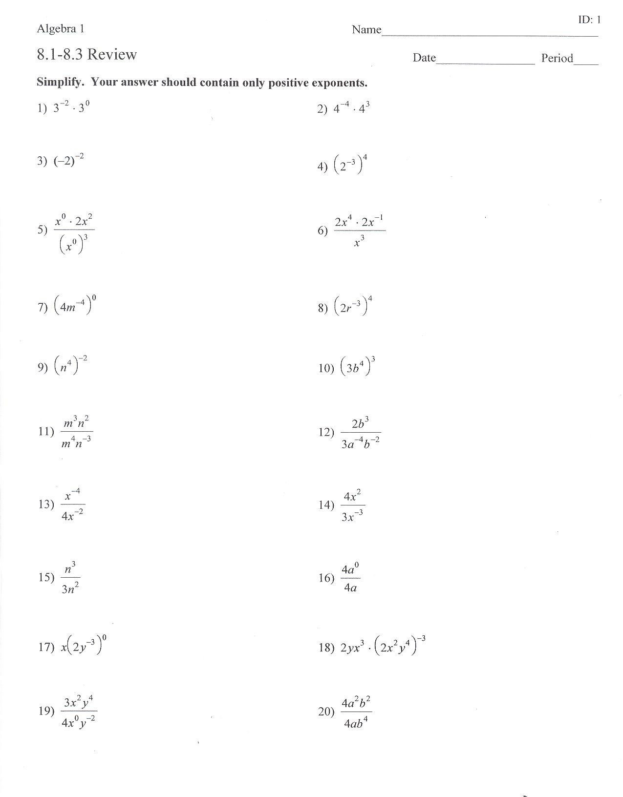 Properties Of Exponents Worksheet Answers Adding And