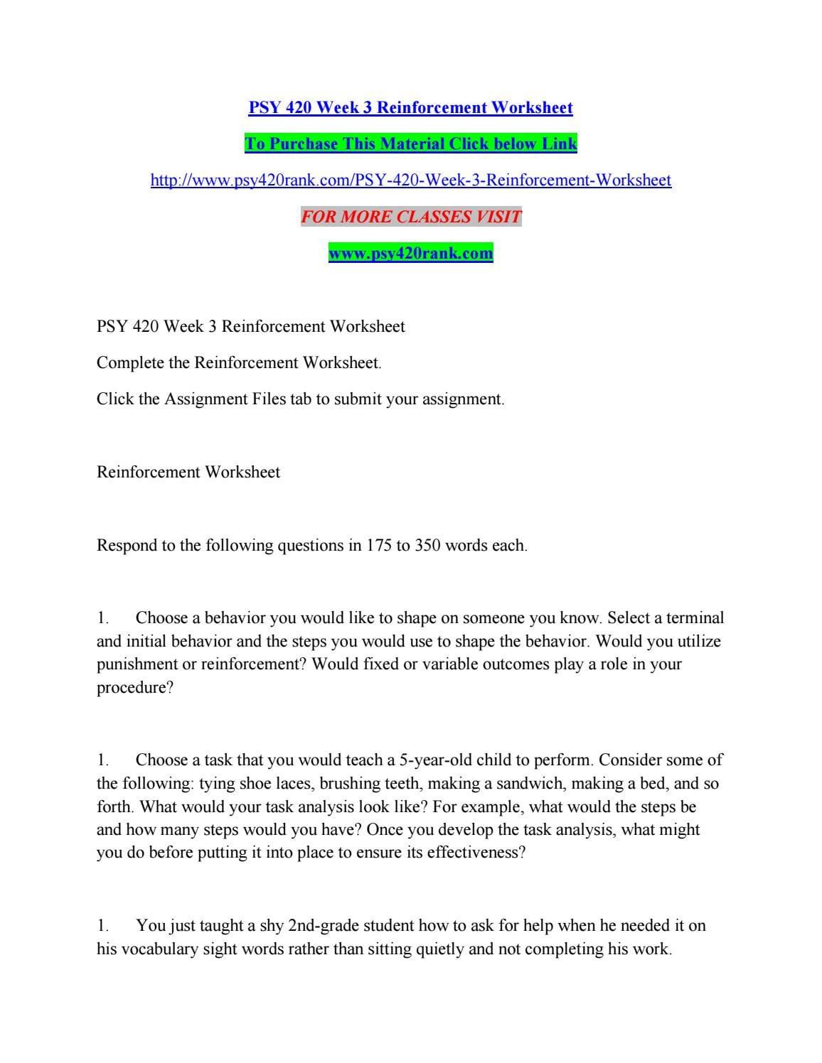 Psy 420 Week 3 Reinforcement Worksheetchanduchagam68