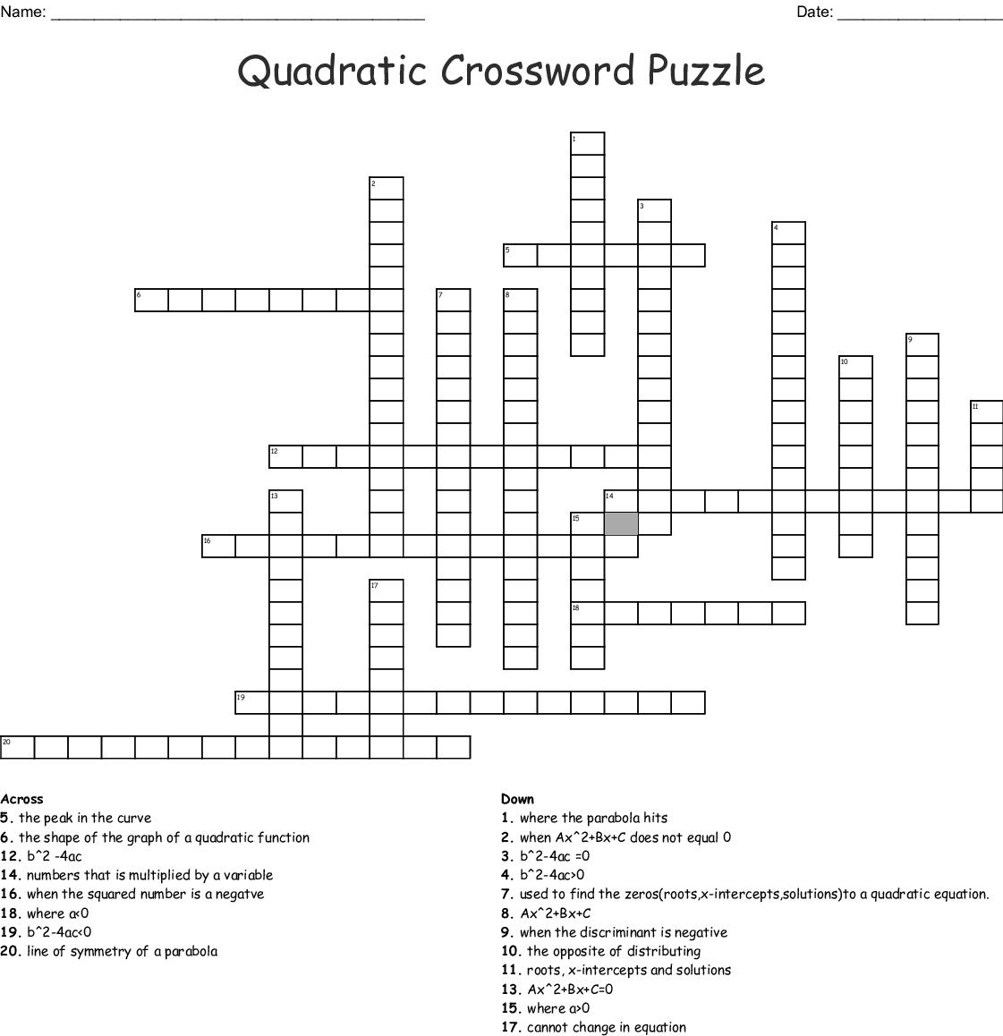 Quadratic Crossword Puzzle Word