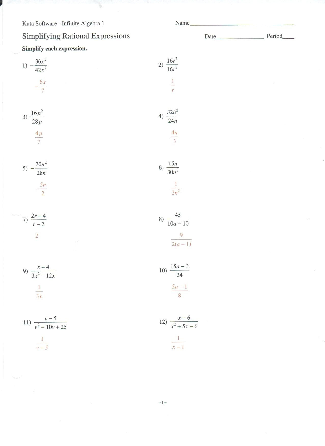 Quadratic Equation Worksheet With Answers