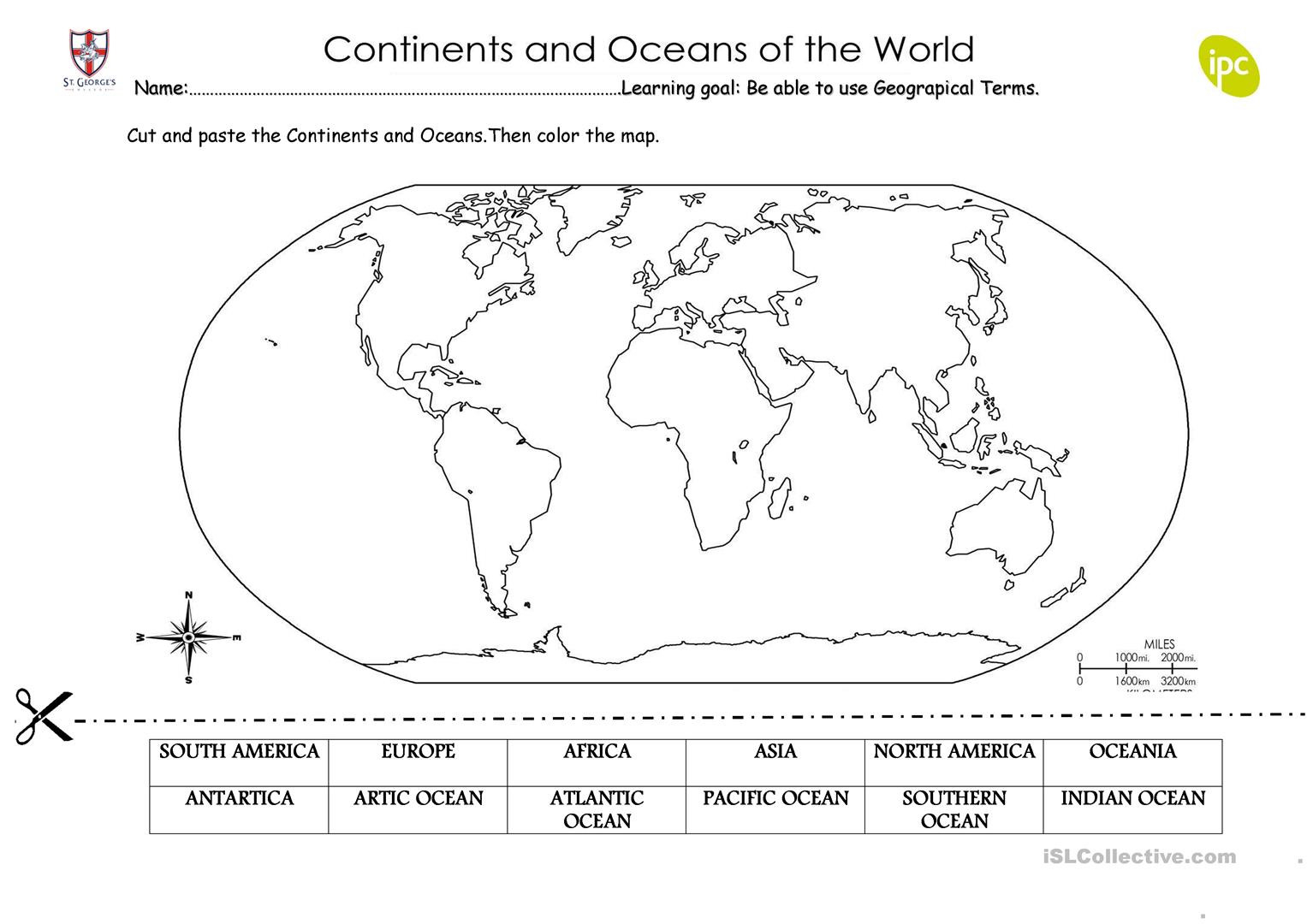 Continents And Oceans Worksheet Cut And Paste
