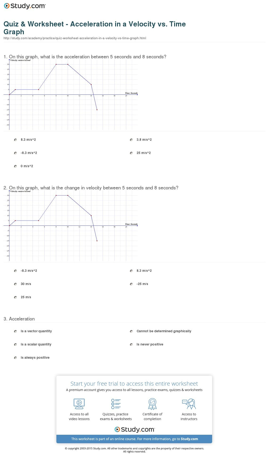 Quiz Worksheet Acceleration In A Velocity Vs Time Graph