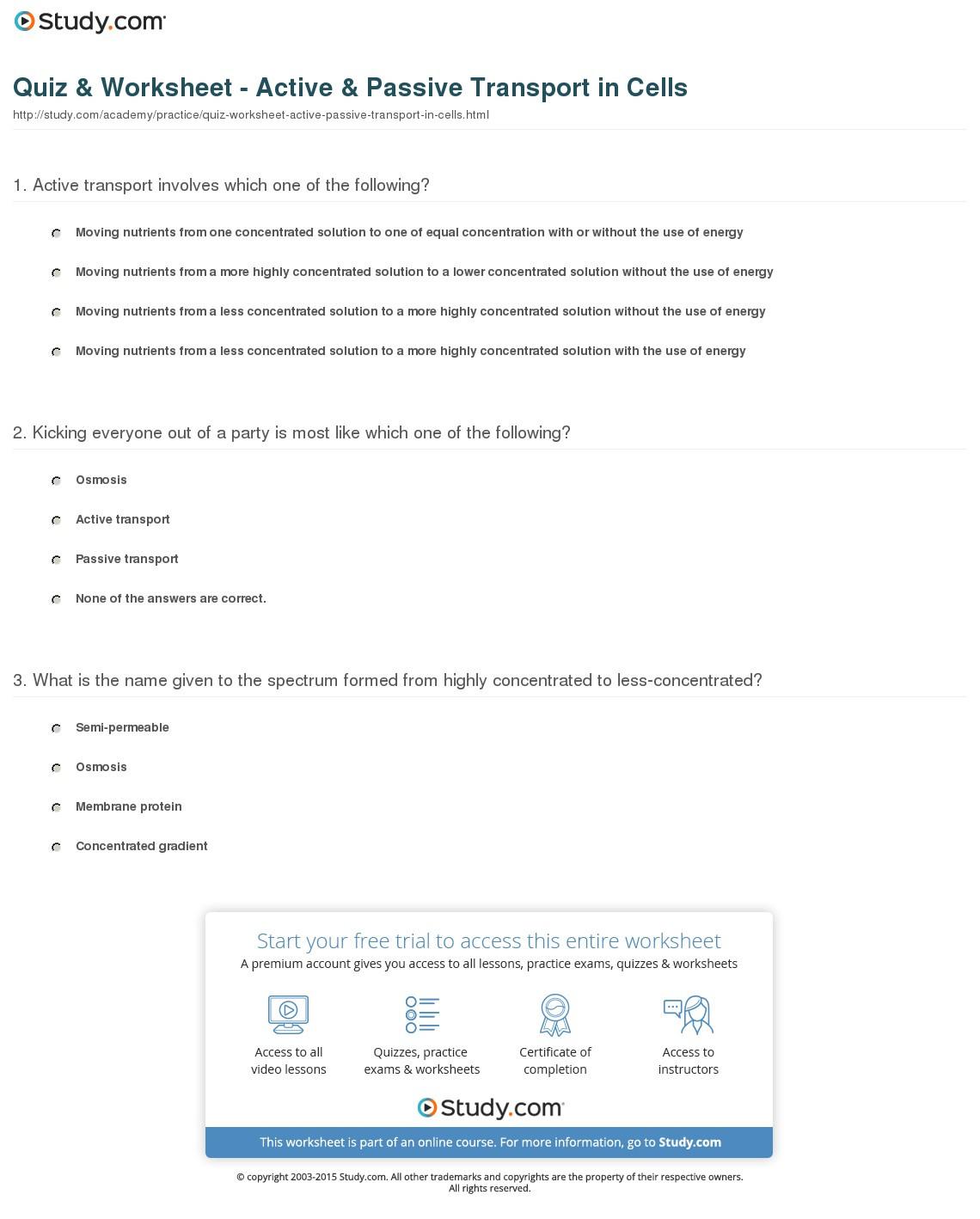 Quiz Worksheet Active Passive Transport In Cells