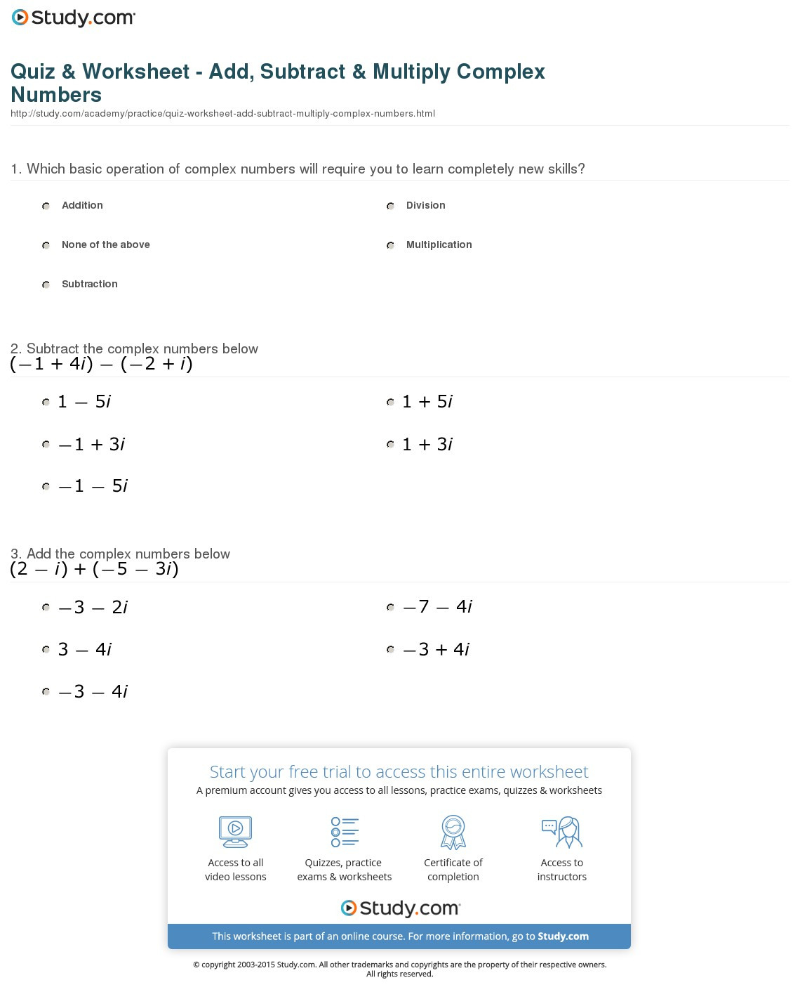 Adding And Subtracting Complex Numbers Worksheet
