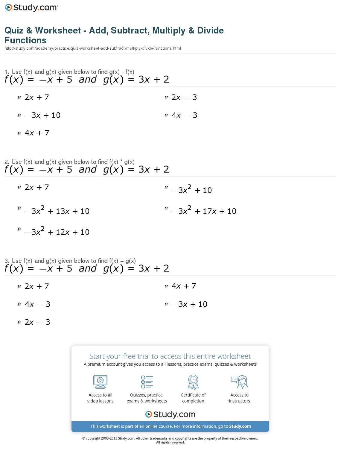 Quiz Worksheet Add Subtract Multiply Divide