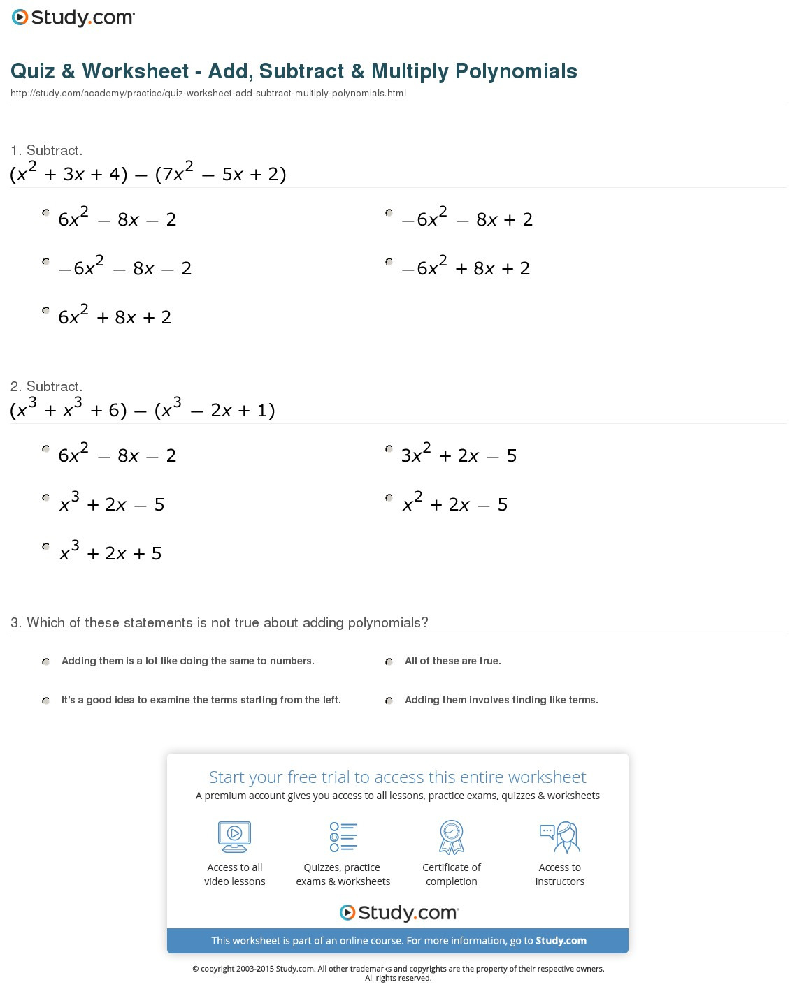 Quiz Worksheet Add Subtract Multiply Polynomials Study