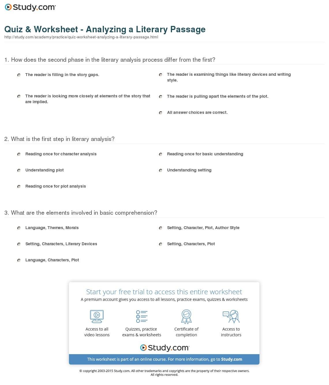 Yzing Literature Worksheet