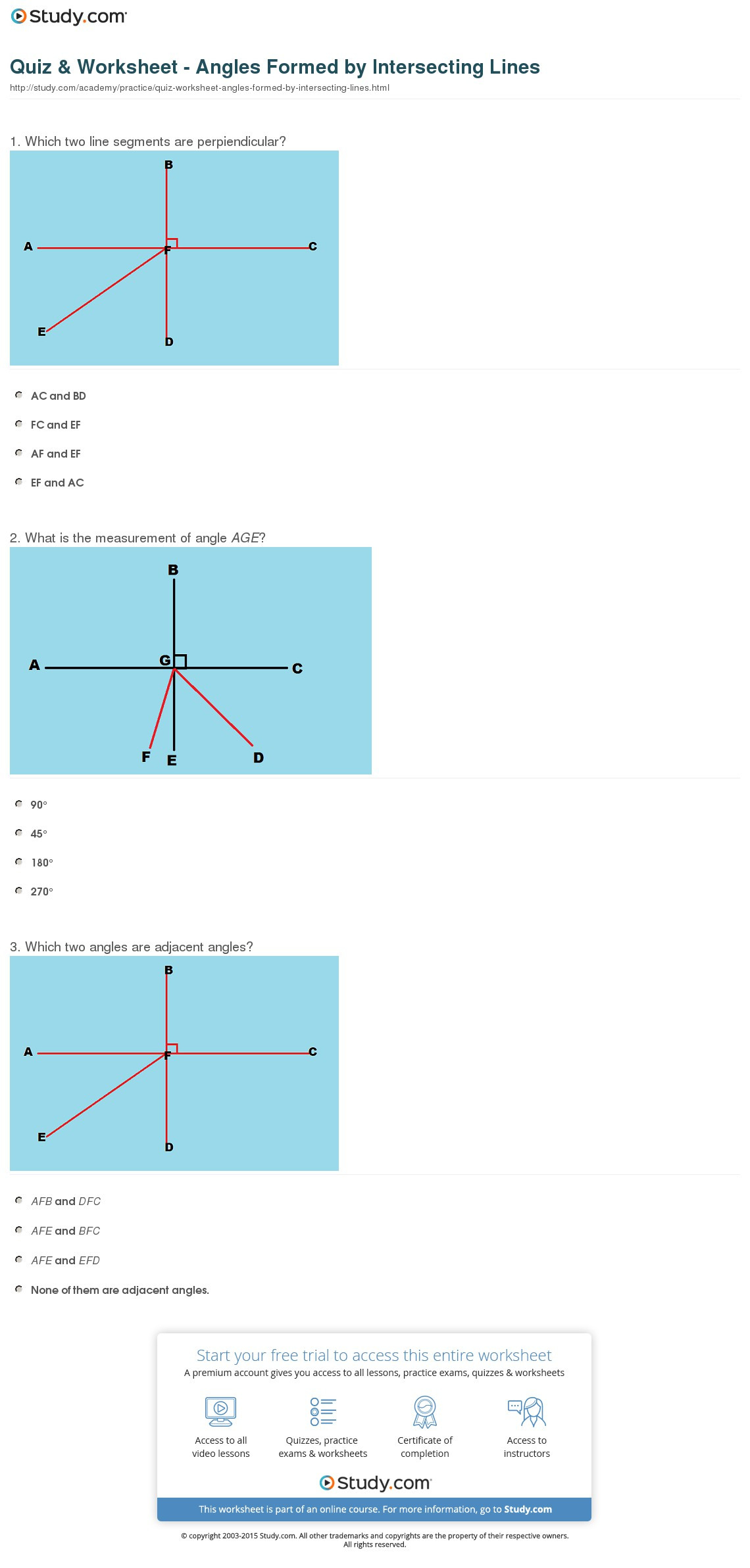 Quiz Worksheet Angles Formedintersecting Lines
