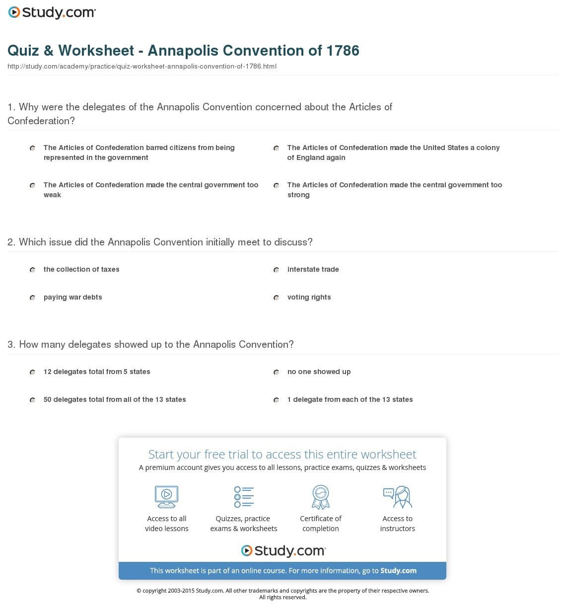 Quiz Worksheet Annapolis Convention Of Study