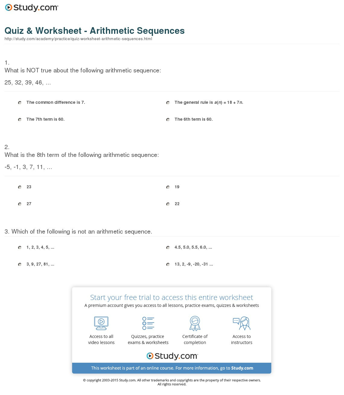 Quiz Worksheet Arithmetic Sequences Study
