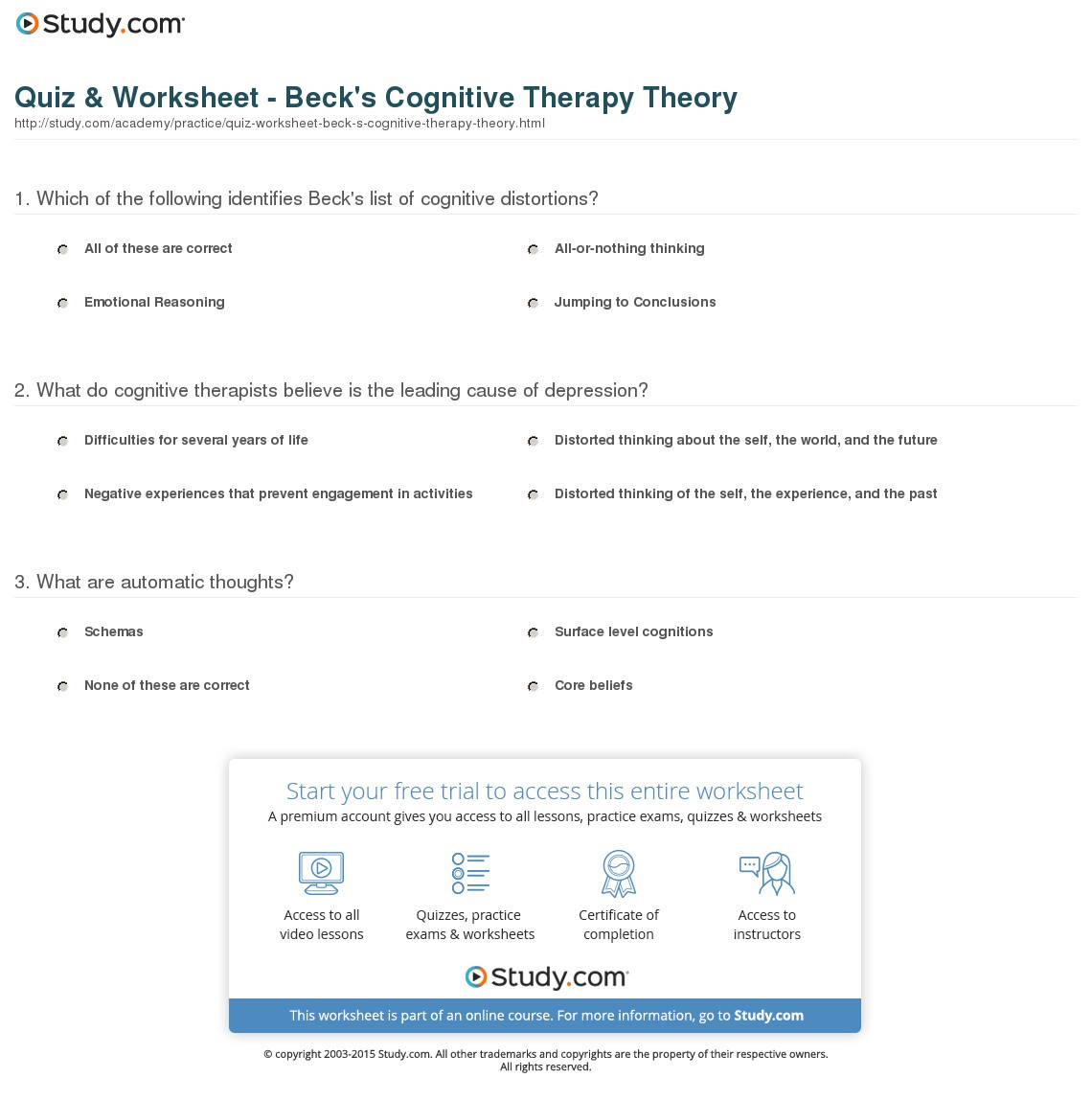 Quiz Worksheet Beck S Cognitive Therapy Theory Study