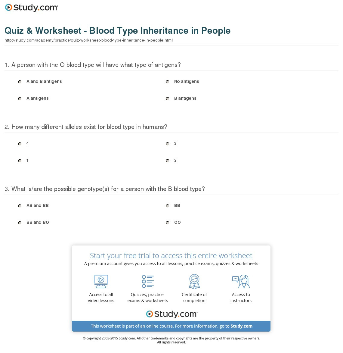 Quiz Worksheet Blood Type Inheritance In People Study