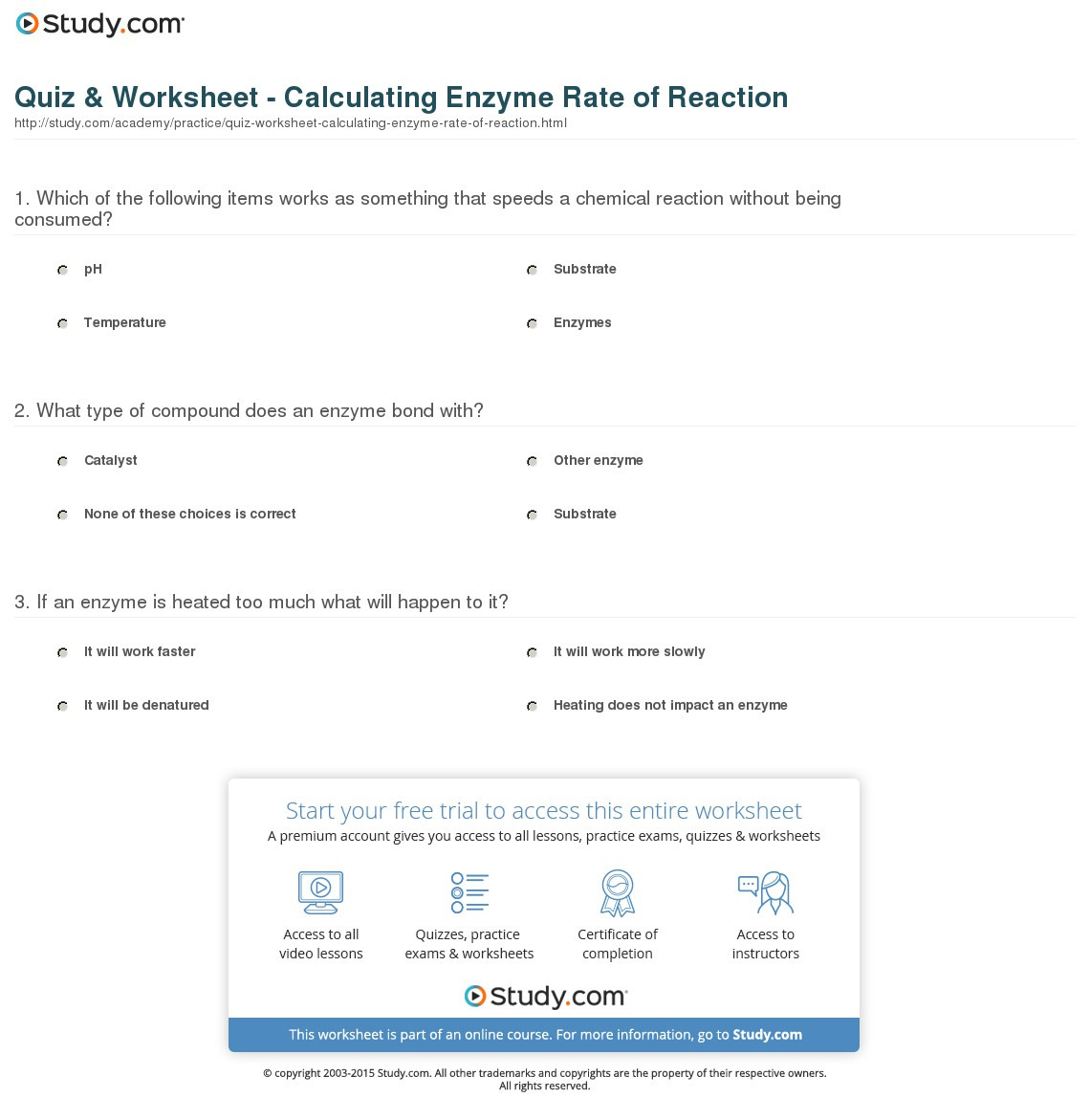 Quiz Worksheet Calculating Enzyme Rate Of Reaction