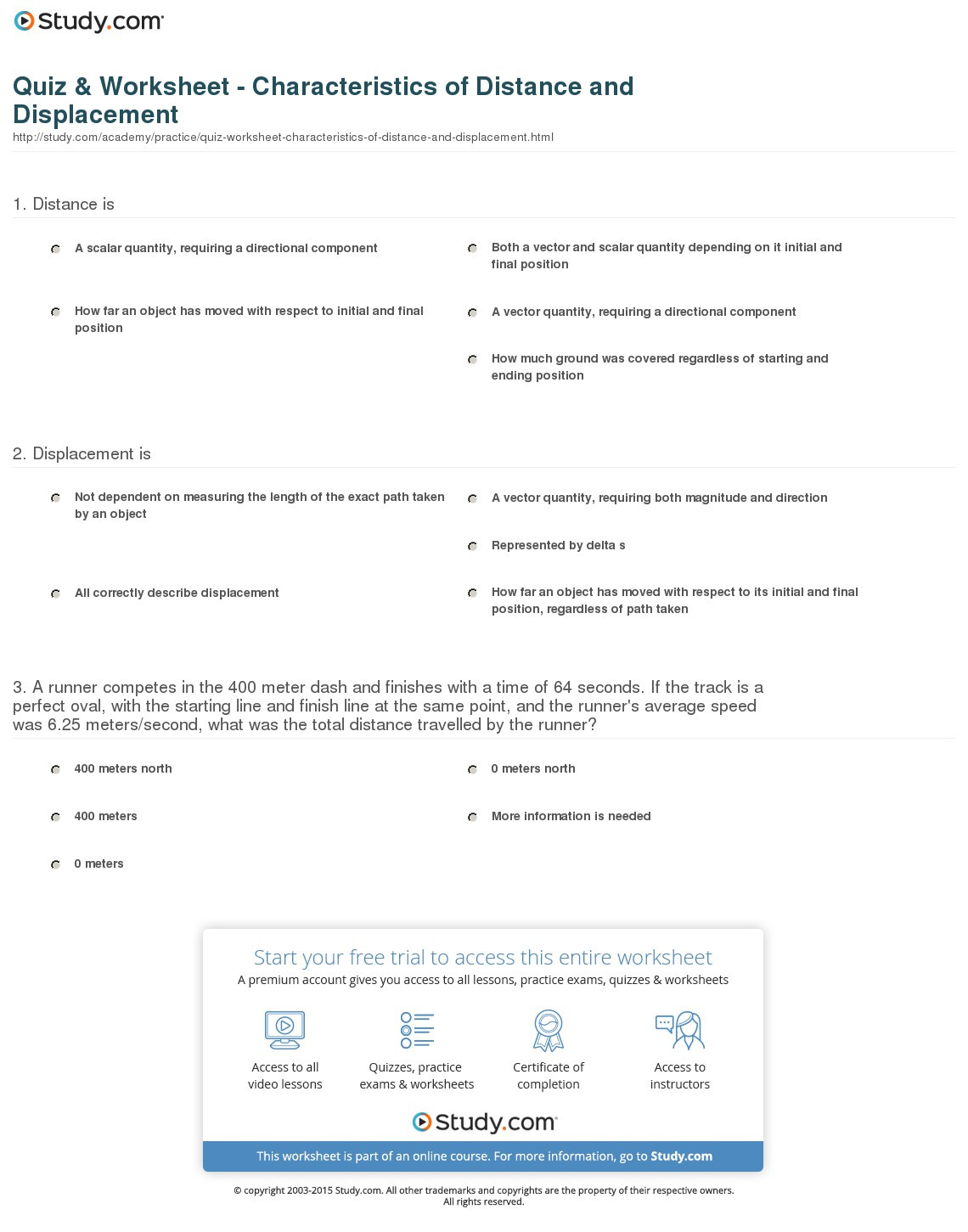 Distance And Displacement Worksheet Answer Key