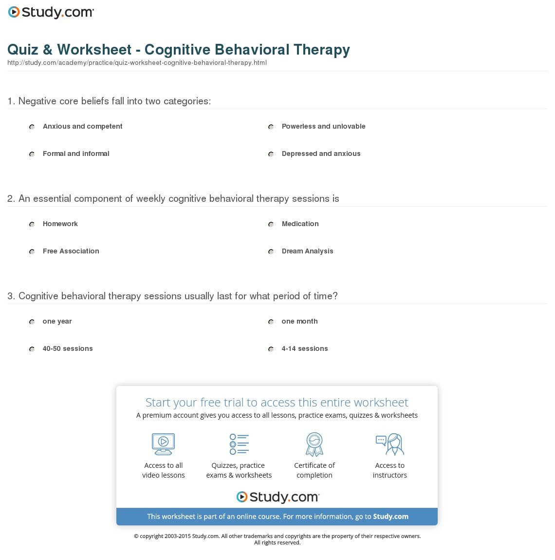 Cbt Worksheets For Oppositional Defiant Disorder