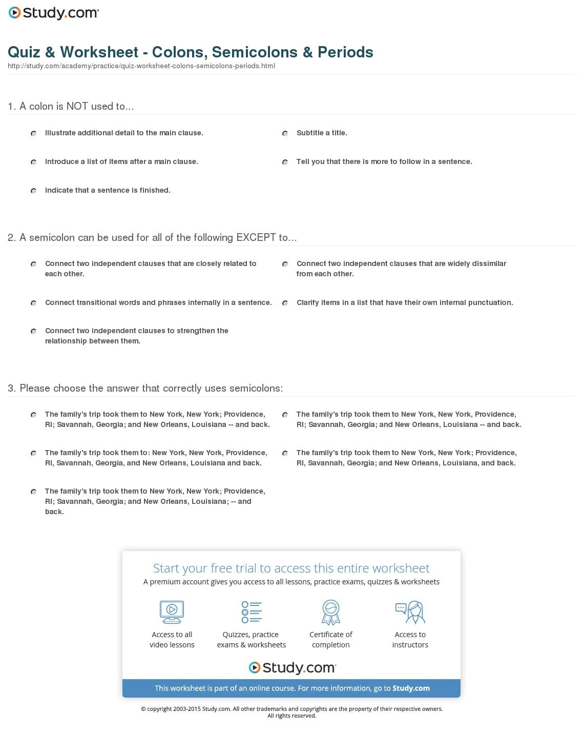 Quiz Worksheet Colons Semicolons Periods Study
