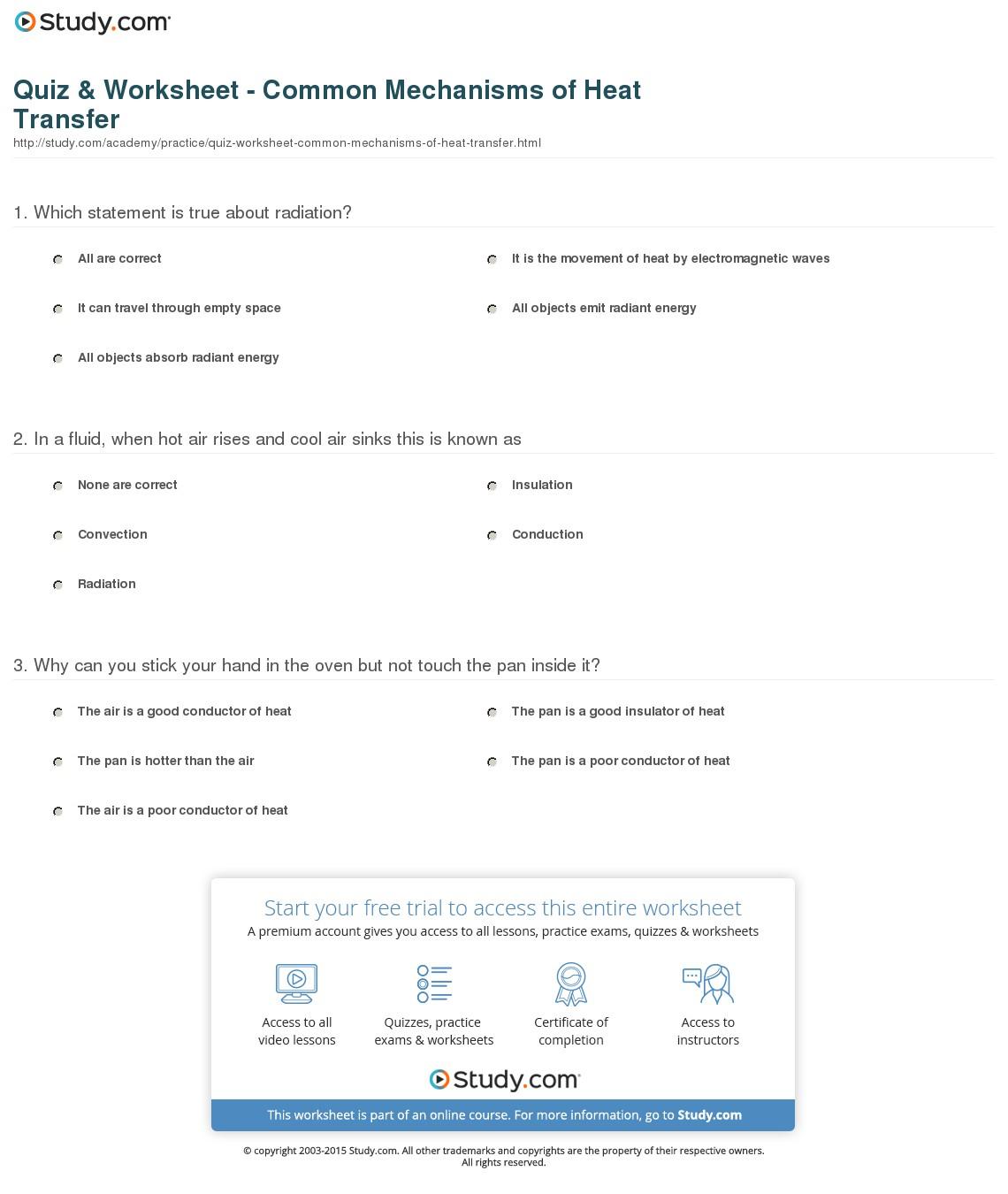 Quiz Worksheet Common Mechanisms Of Heat Transfer Study