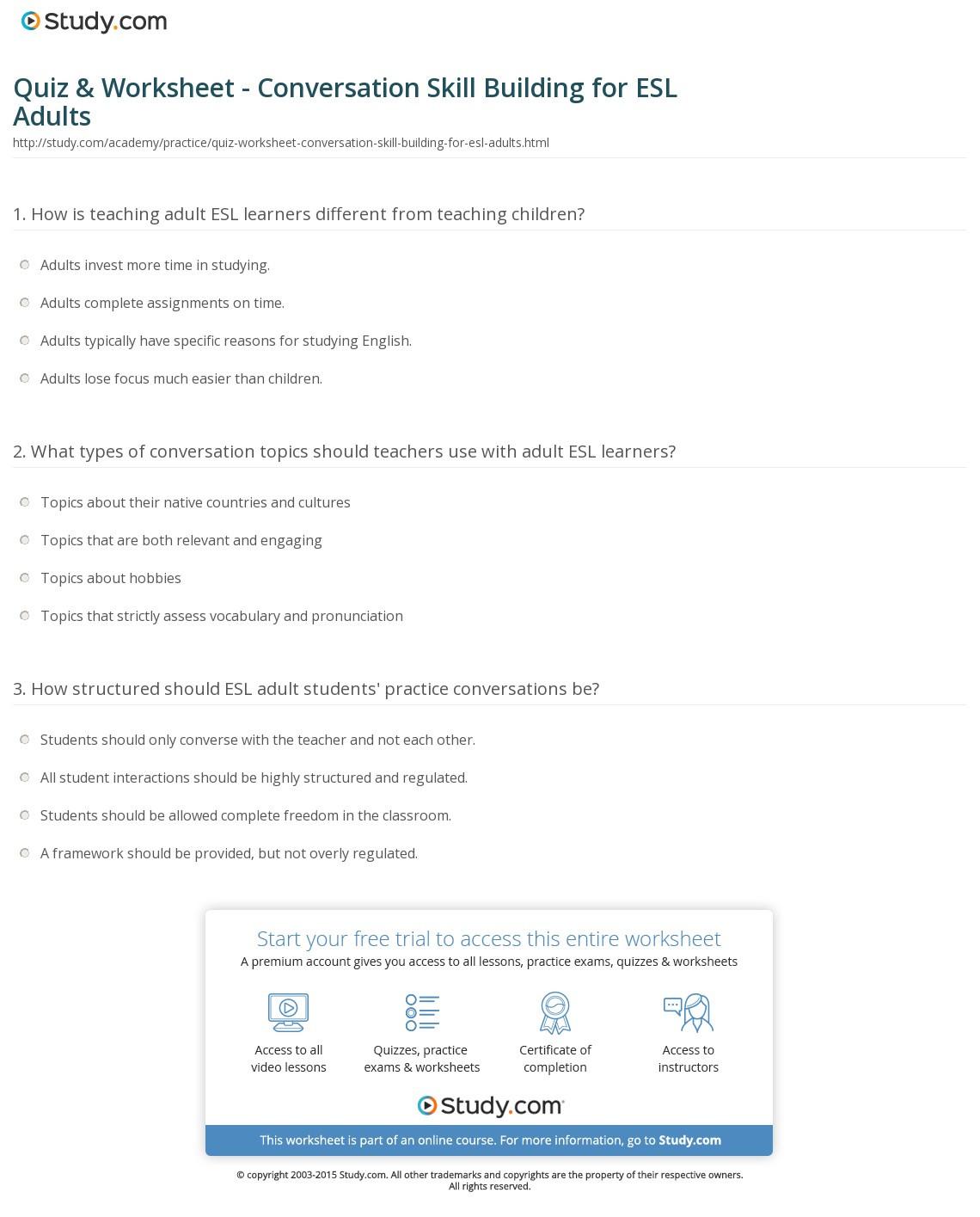 Quiz Worksheet Conversation Skill Building For Esl