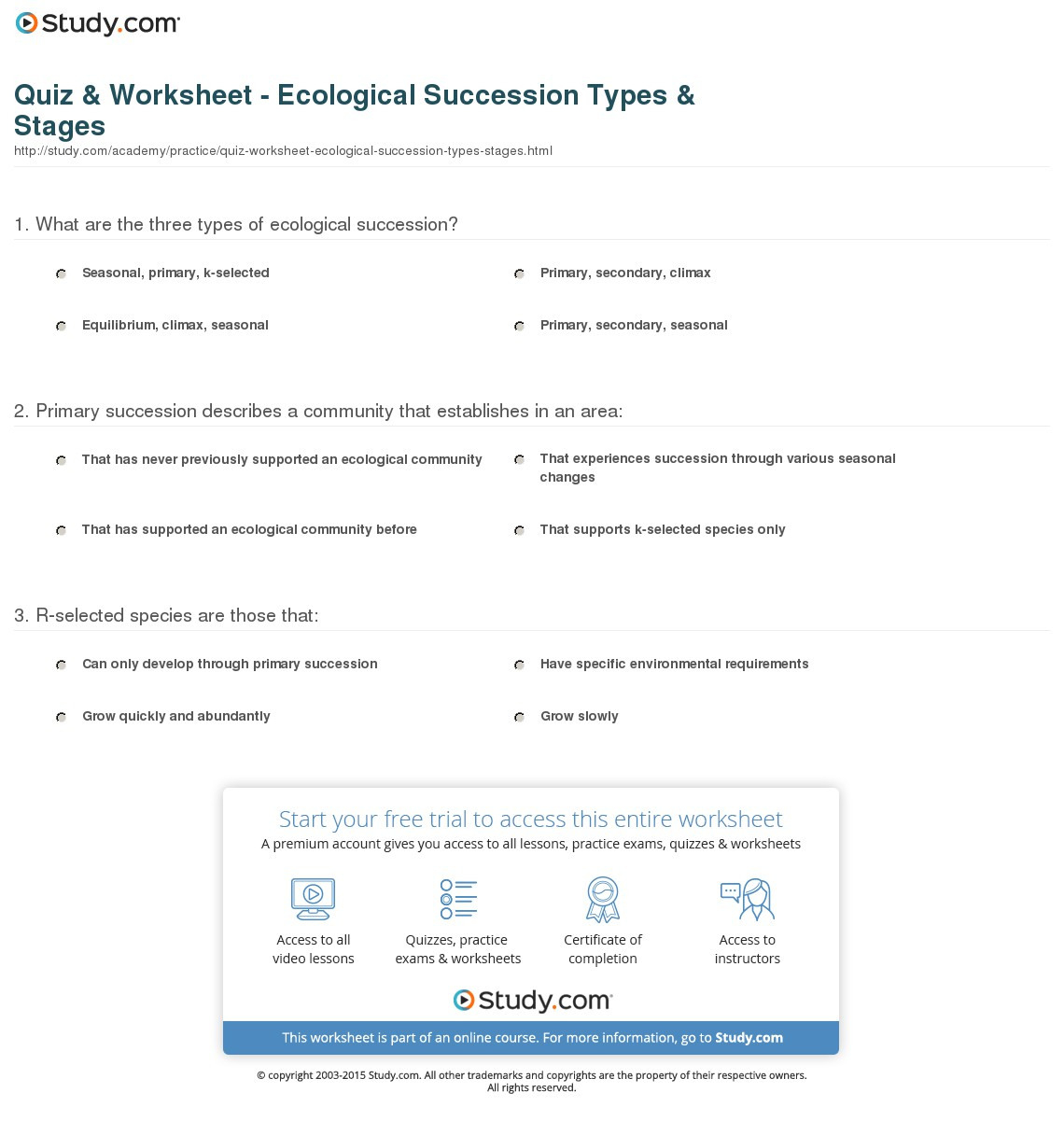 Quiz Worksheet Ecological Succession Types Stages