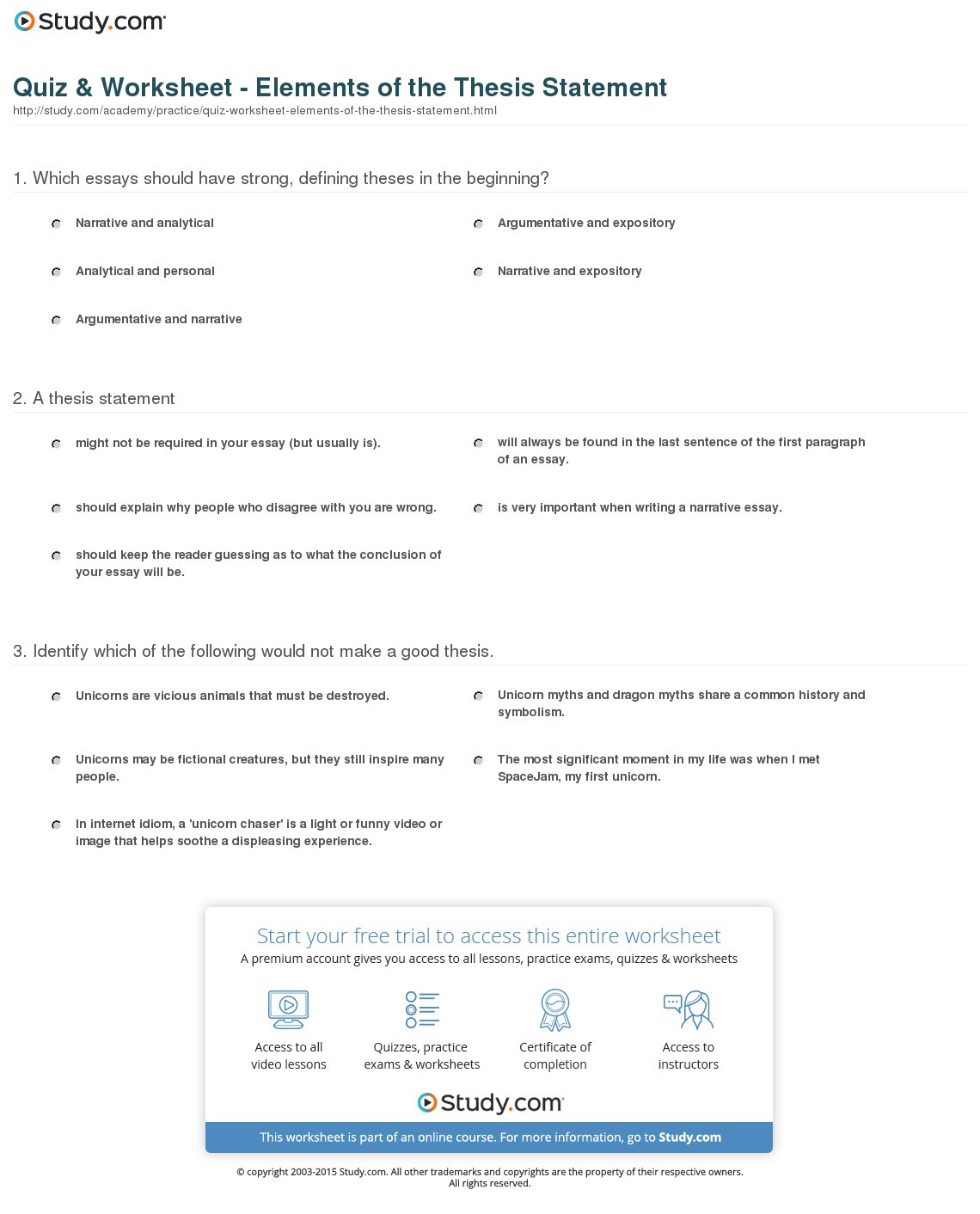 Quiz Worksheet Elements Of The Thesis Statement Study
