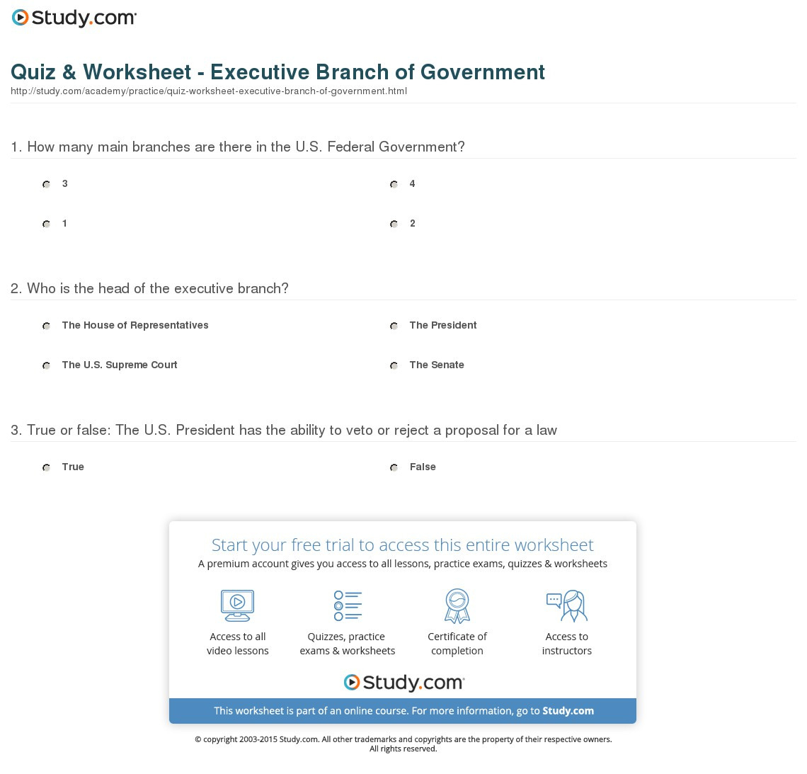 Quiz Worksheet Executive Branch Of Ernment Study