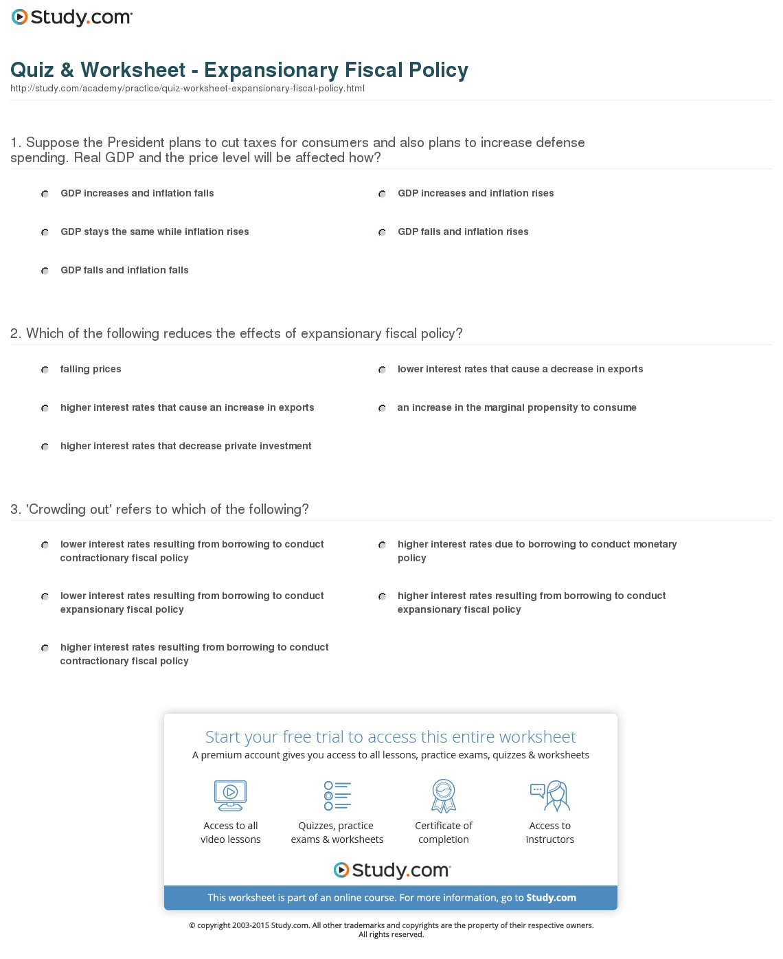 Quiz Worksheet Expansionary Fiscal Policy Study