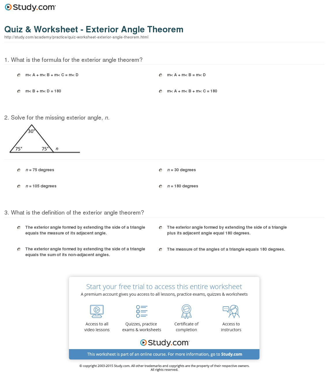 hight resolution of Exterior Angles Of A Triangle Worksheet   Printable Worksheets and  Activities for Teachers