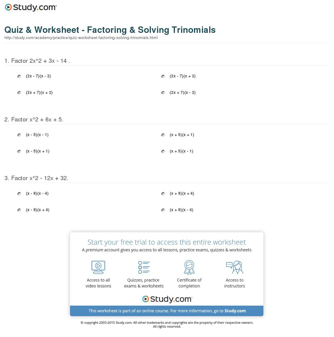 Quiz Worksheet Factoring Solving Trinomials Study