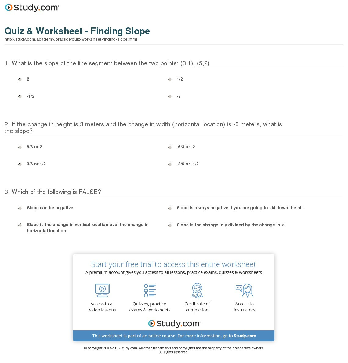 Quiz Worksheet Finding Slope Study