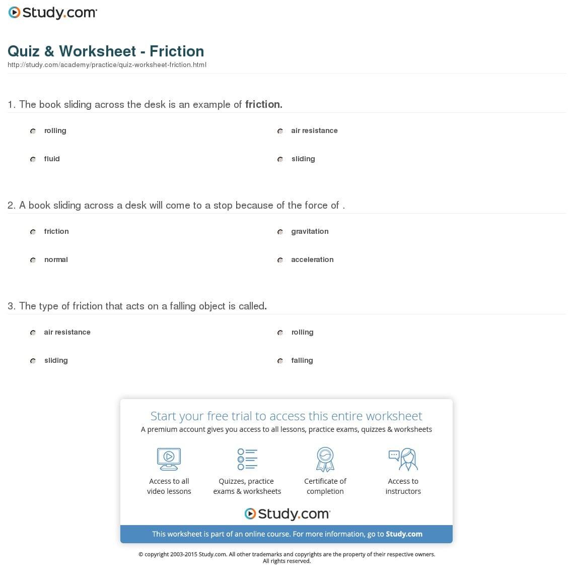 Quiz Worksheet Friction Study